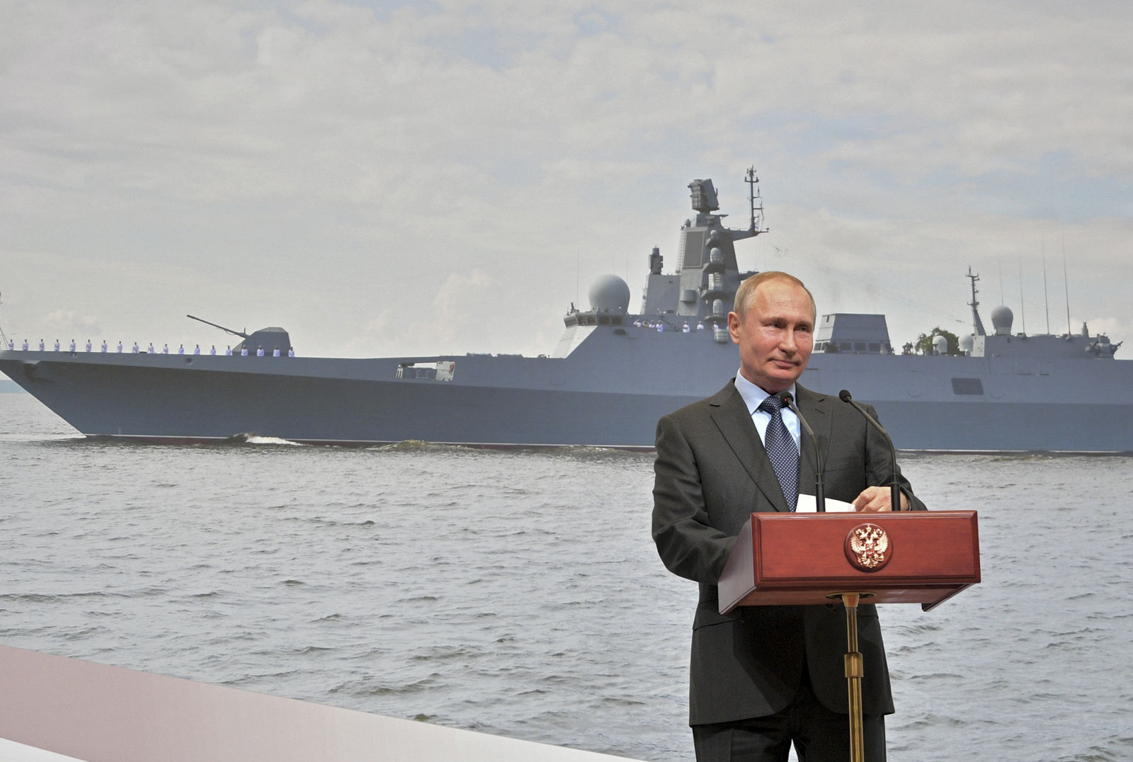 Russian President Vladimir Putin speaks during as he visits a shipyard in St. Petersburg, Russia, Tuesday, April 23, 2019. Putin said the government will pursue an ambitious navy modernization effort. (Alexei Druzhinin, Sputnik, Kremlin Pool Photo via AP)