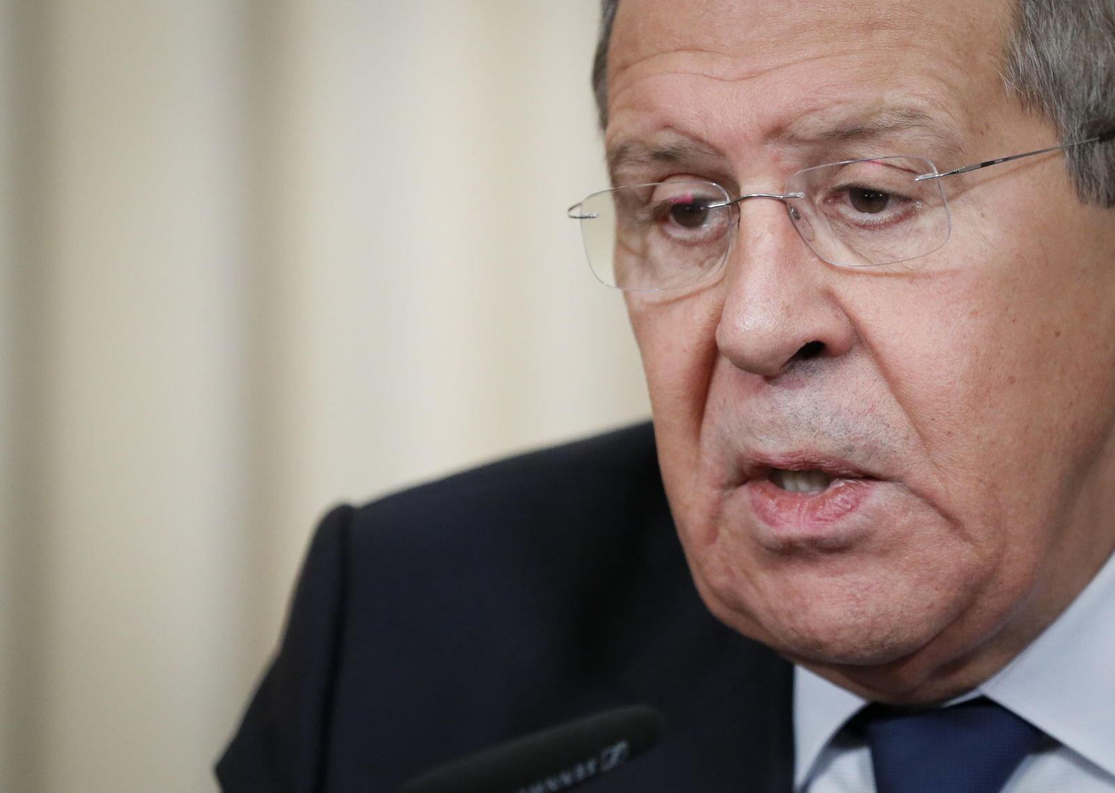 Russian Foreign Minister Sergey Lavrov speaks during his and Germany's Foreign Minister Heiko Maas joint news conference following their talks in Moscow, Russia, Friday, Jan. 18, 2019. Germany's foreign minister has urged Russia to save a key arms treaty with the U.S. to prevent a new arms race. (AP Photo)