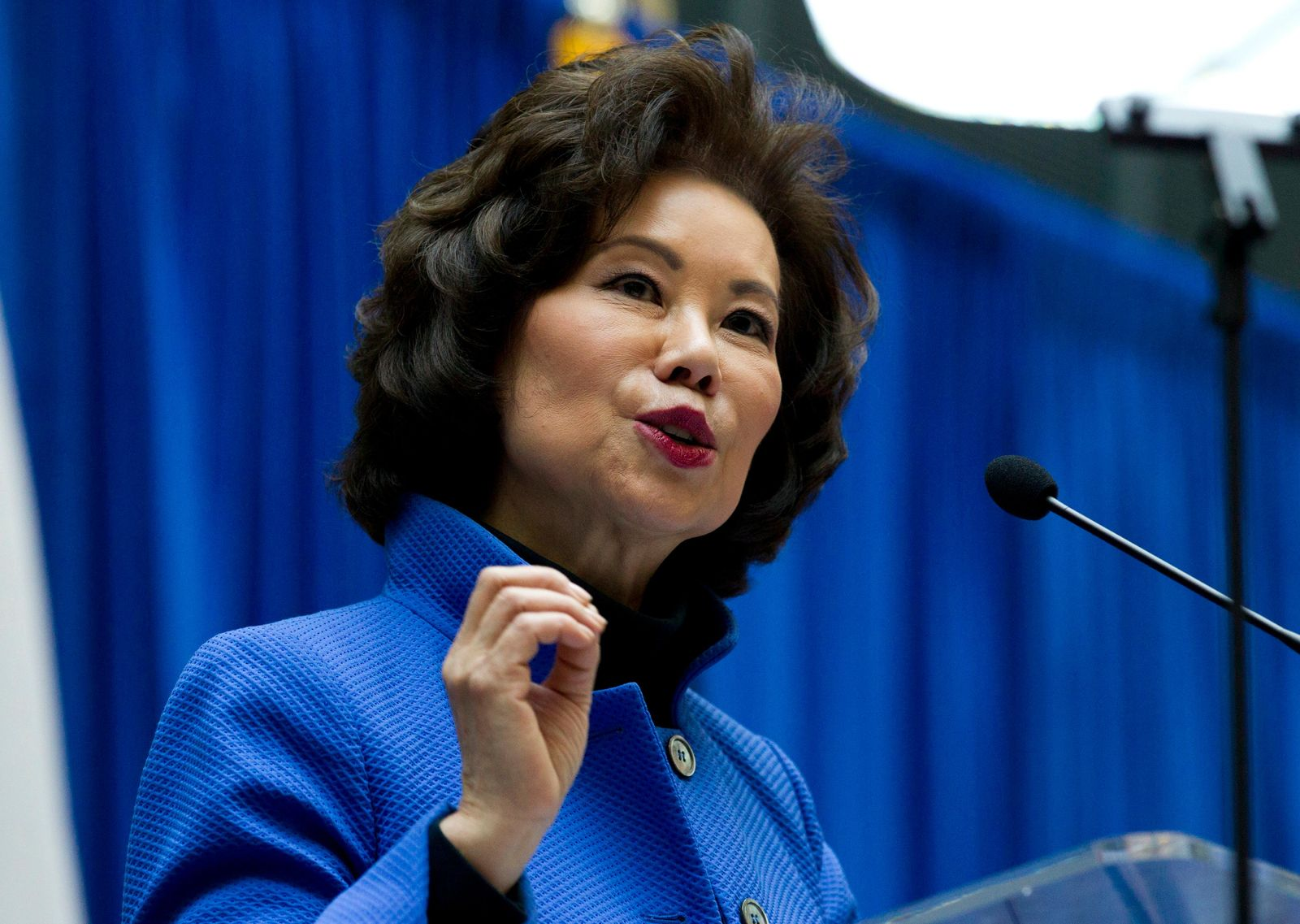 FILE - In this Dec. 11, 2018 file photo, Transportation Secretary Elaine Chao speaks during a major infrastructure investment announcement at transportation headquarters in Washington.. (AP Photo/Jose Luis Magana, File)