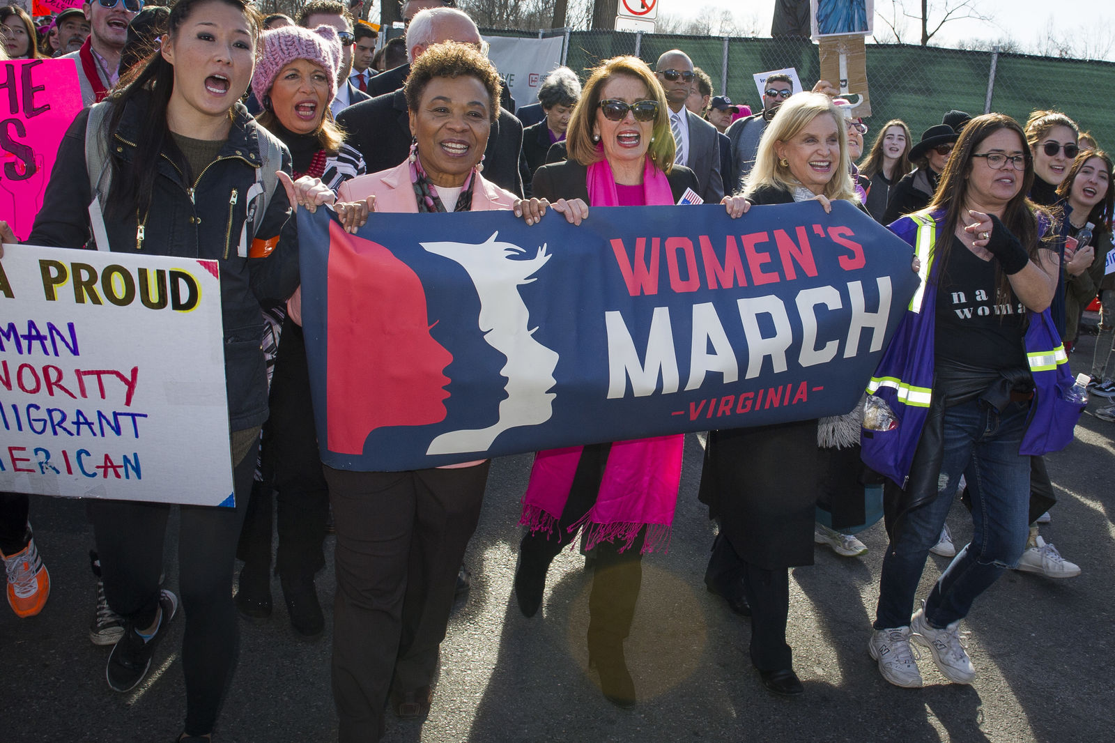 FILE - In this Jan. 20, 2018 file photo, House Minority Leader Nancy Pelosi of Calif, center, marches in the Women's March as they walk to the White House from the Lincoln Memorial in Washington.{ } (AP Photo/Cliff Owen)