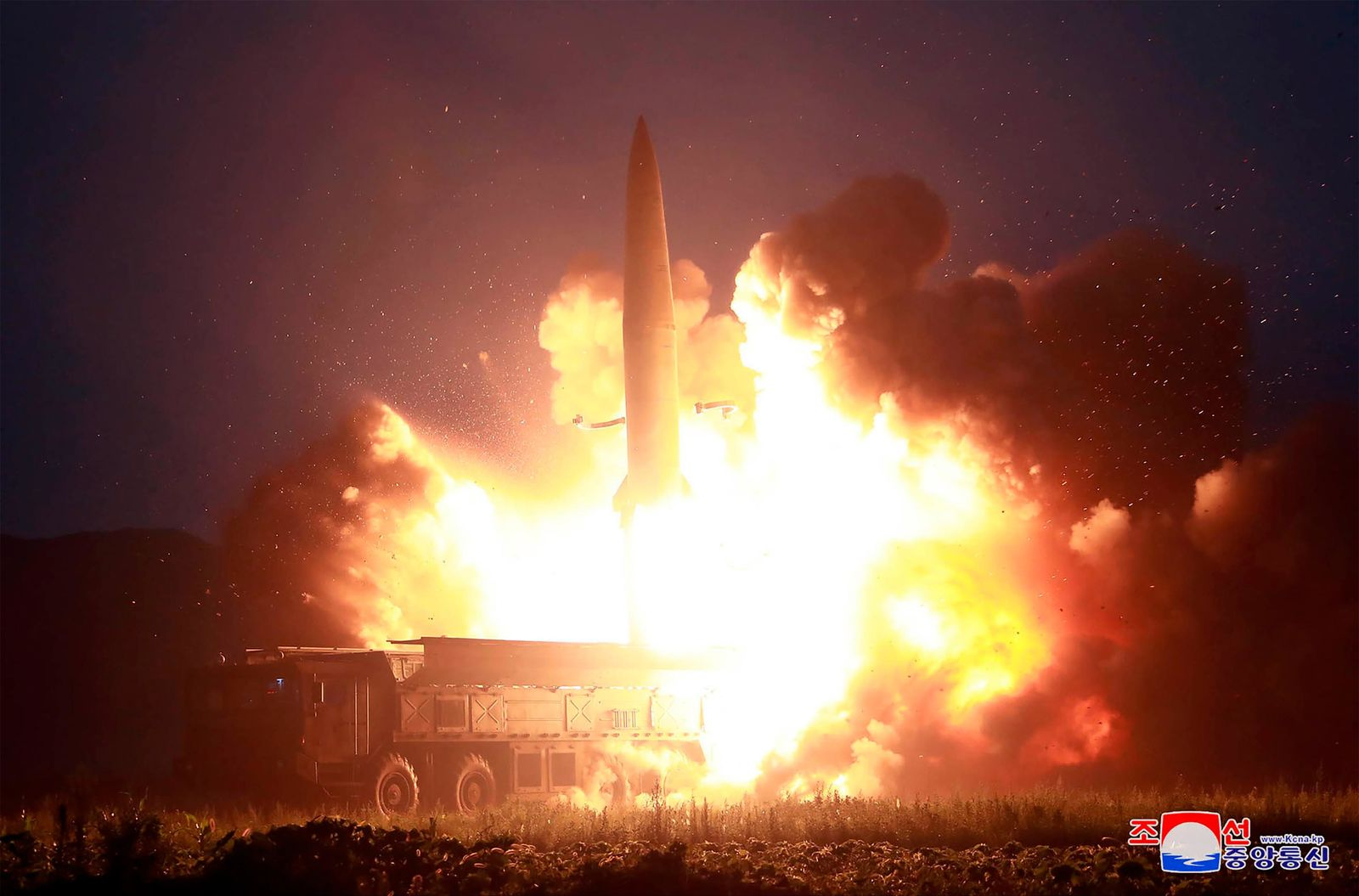 This Tuesday, Aug. 6, 2019, photo provided by the North Korean government shows what it says the launch of a new-type tactical guided missile at an airfield in the western area of North Korea. (Korean Central News Agency/Korea News Service via AP)
