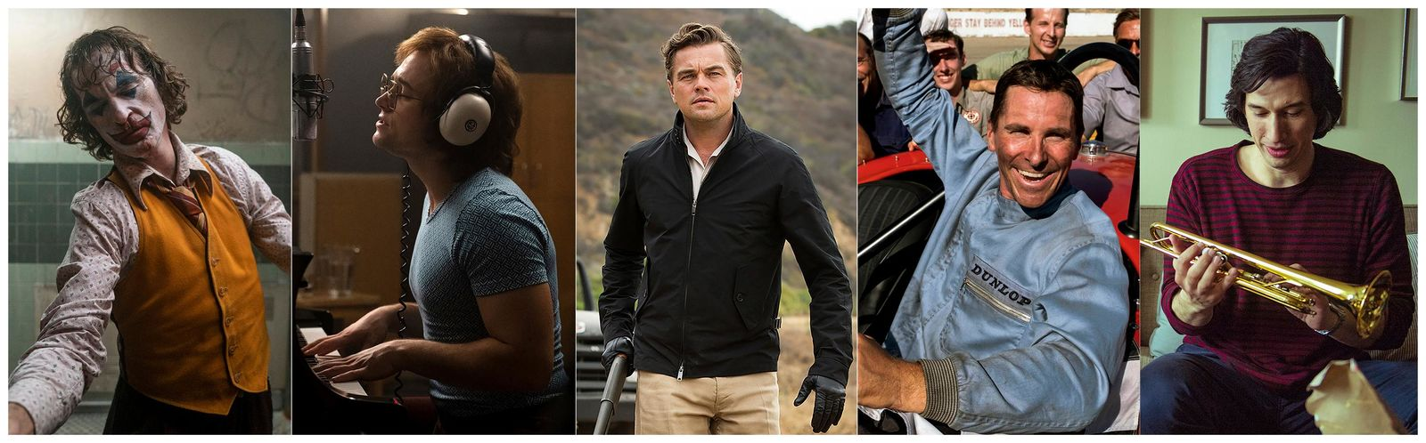 "This combination of photos shows the Screen Actors Guild Award nominees for outstanding performance by a male actor in a leading role, from left, Joaquin Phoenix in ""Joker,"" Taron Egerton in ""Rocketman,"" Leonardo DiCaprio in ""Once Upon a Time...in Hollywood,"" Christian Bale in ""Ford v Ferrari."" (Warner Bros. Pictures/Paramount/Sony Pictures/20th Century Fox/Netflix via AP)"