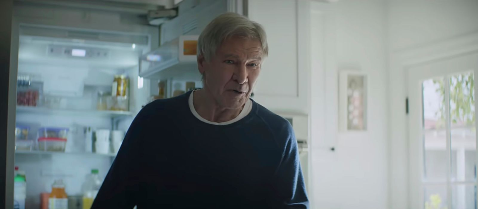 This undated image made from a video provided by Amazon shows a scene from the company's 2019 Super Bowl NFL football spot featuring Harrison Ford. (Amazon via AP)