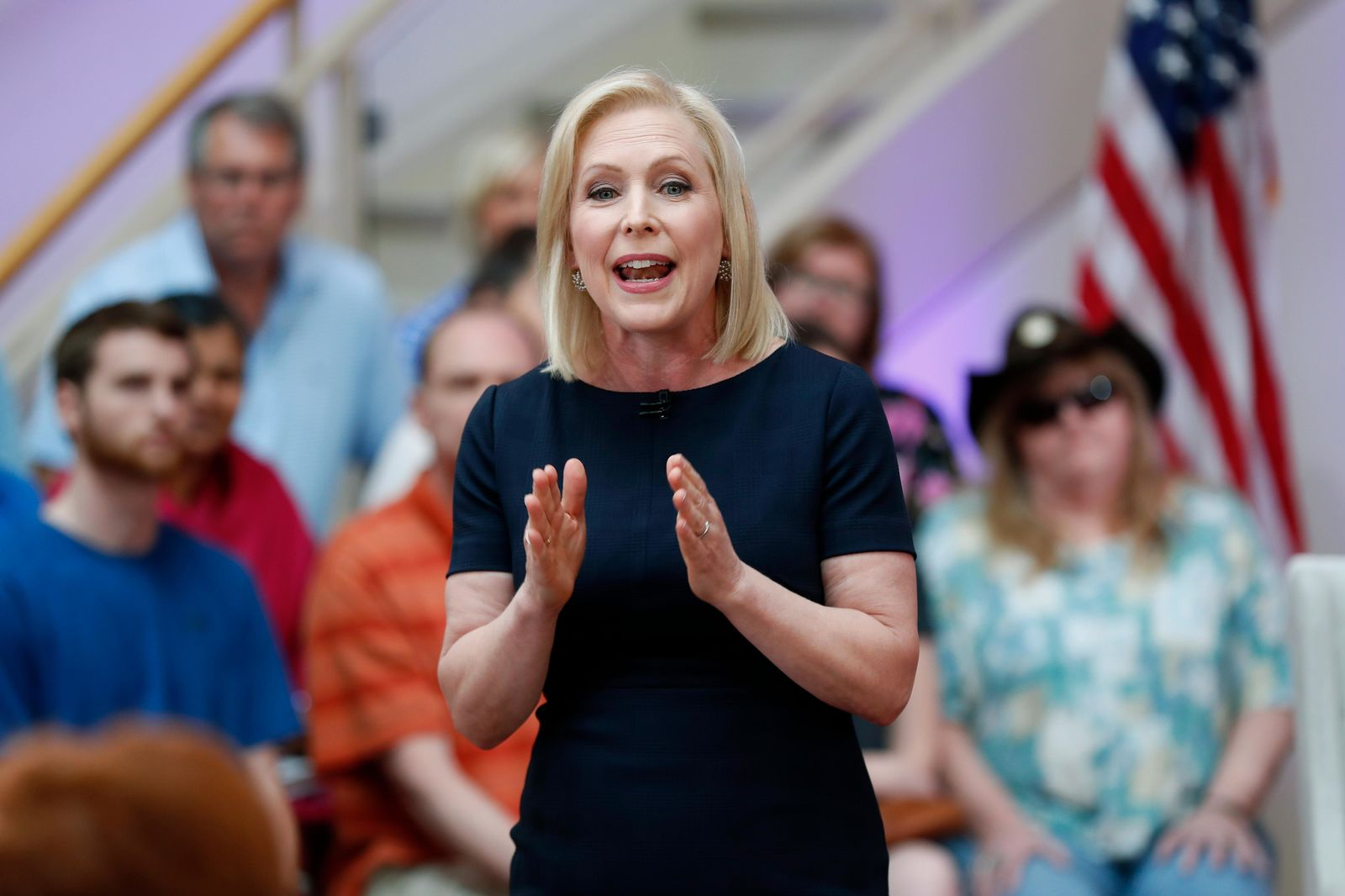 Democratic presidential candidate Sen. Kirsten Gillibrand speaks during a FOX News town hall, Sunday, June 2, 2019, in Dubuque, Iowa. (AP Photo/Charlie Neibergall)