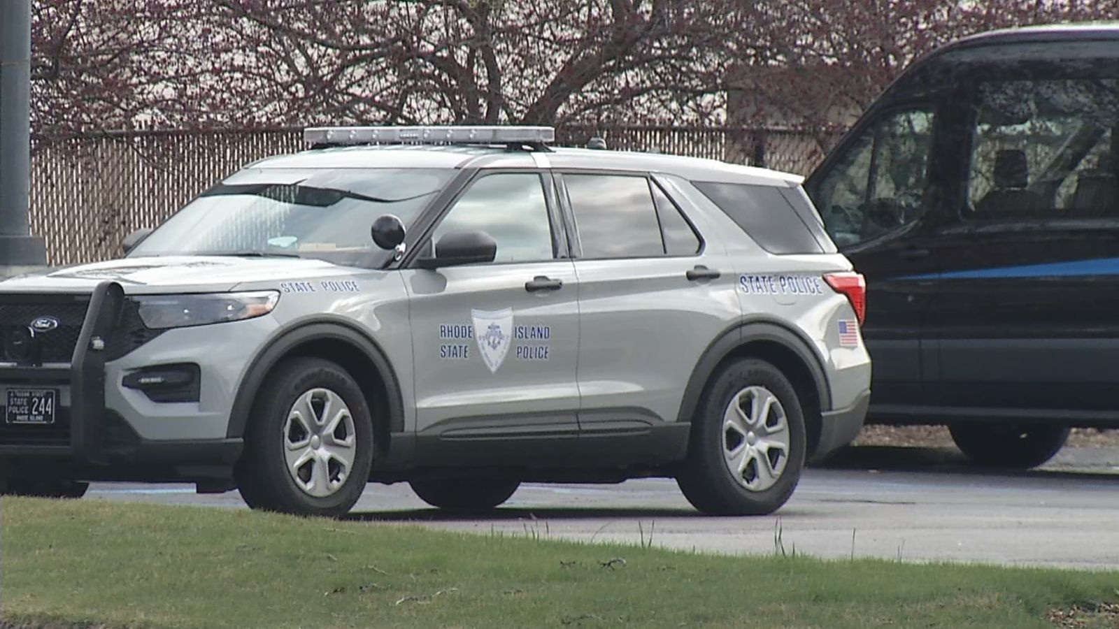 A heavy Rhode Island State Police presence was seen parked outside the Wyndham Providence Airport Hotel on Post Road in Warwick. (WJAR)