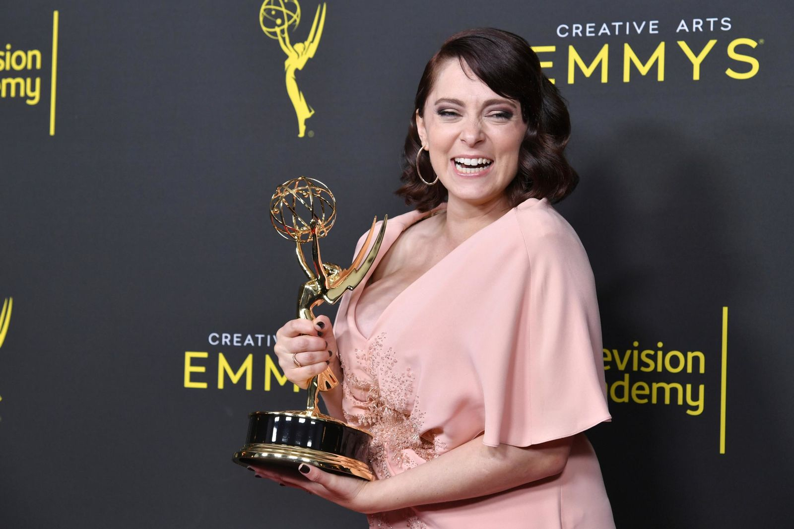 "Rachel Bloom poses in the press room with the award for outstanding original music and lyrics for ""Crazy Ex Girlfriend"" on night one of the Creative Arts Emmy Awards on Saturday, Sept. 14, 2019, at the Microsoft Theater in Los Angeles. (Photo by Richard Shotwell/Invision/AP)"