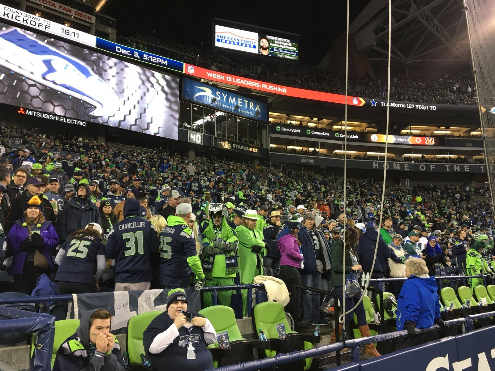 Seahawks game against the Eagles at CenturyLink Field in Seattle (KOMO News){&nbsp;}<p></p>