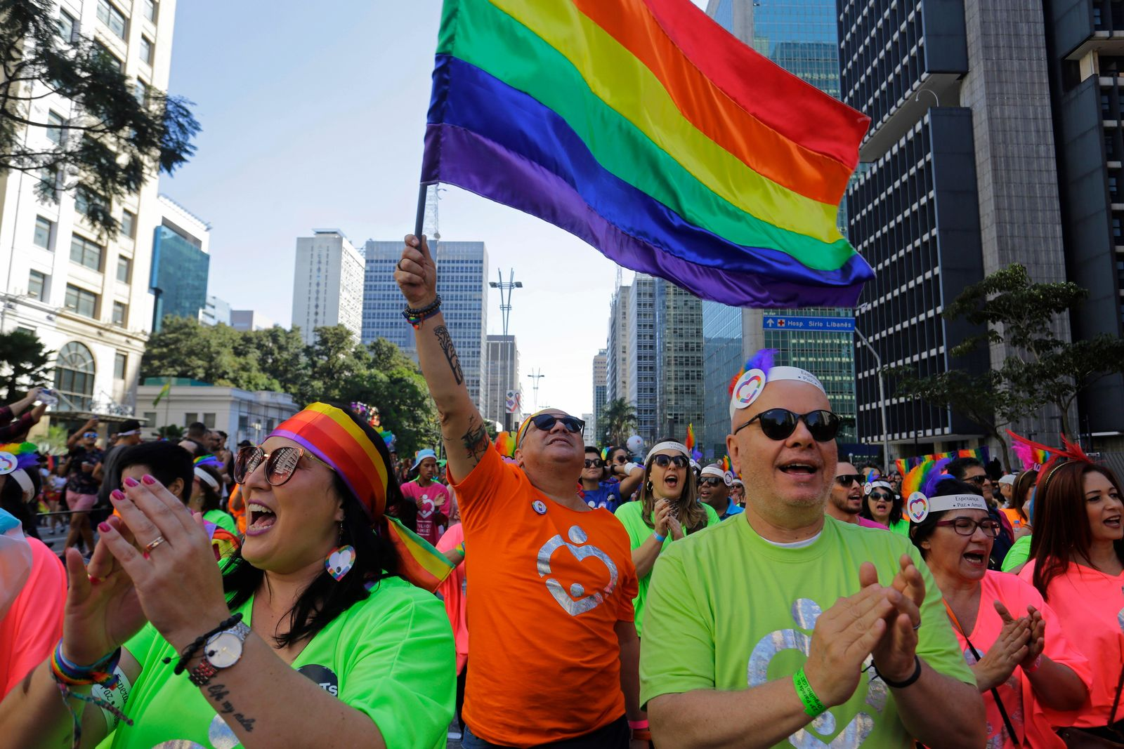 Revelers attends the annual gay pride parade along Paulista avenue in Sao Paulo, Brazil, Sunday, June 23, 2019. (AP Photo/Nelson Antoine)