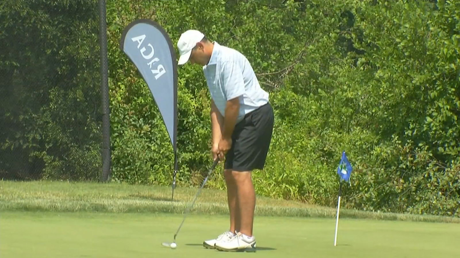 Dr. Christopher Roloff, an emergency room doctor at Sturdy Memorial Hospital in Attleboro, Mass.,  playing golf at this week's Rhode Island Amateur Championship. (WJAR)