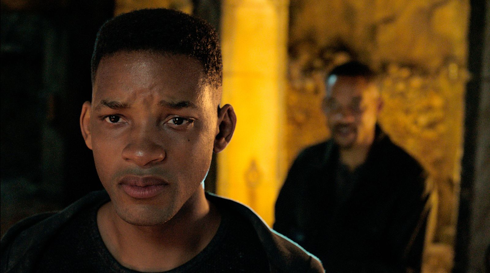 "This image released by Paramount Pictures shows Will Smith, portraying Junior, foreground, and Henry Brogan in the Ang Lee film ""Gemini Man."" (Paramount Pictures via AP)"