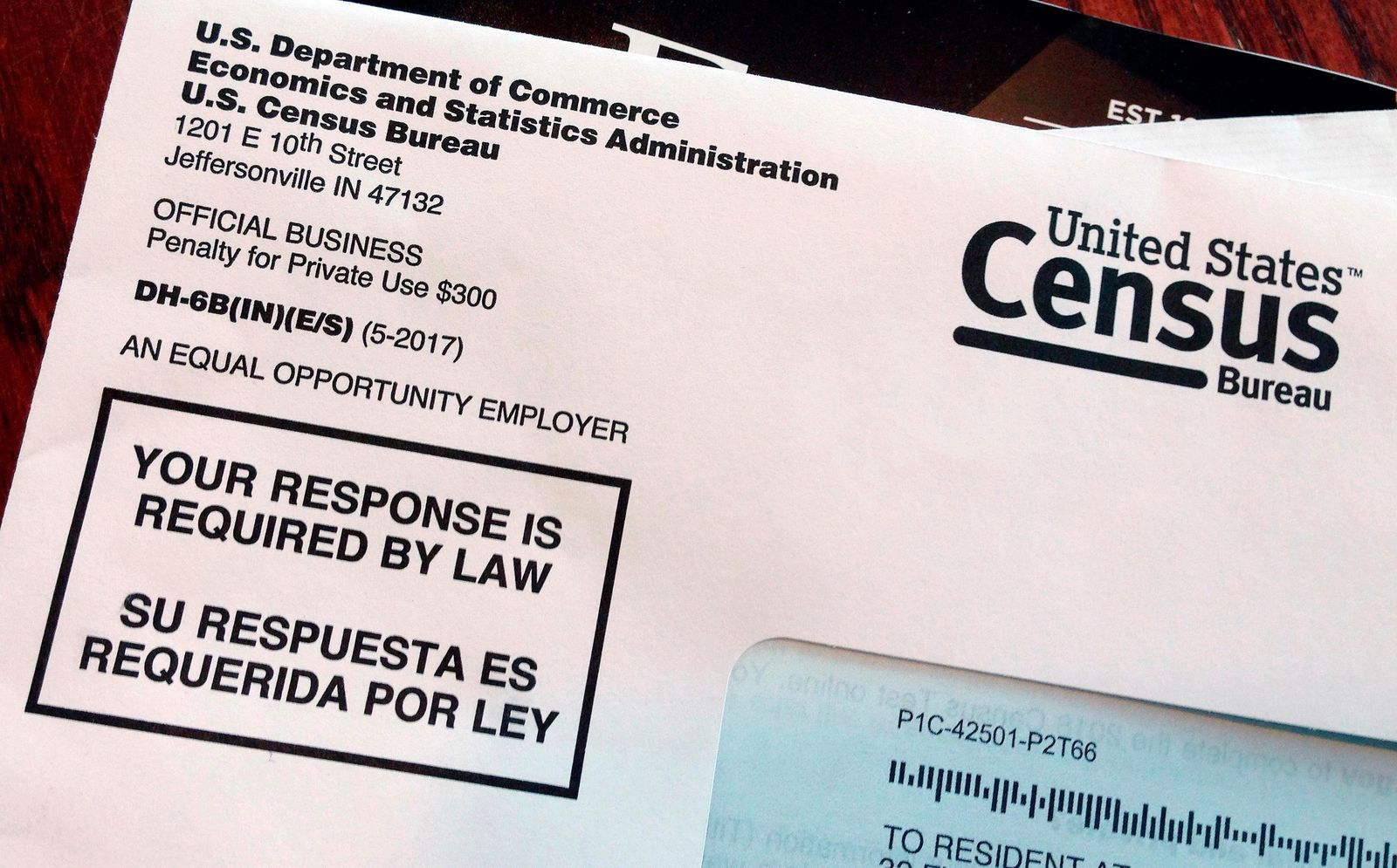 FILE - This March 23, 2018, file photo shows an envelope containing a 2018 census letter mailed to a U.S. resident as part of the nation's only test run of the 2020 Census. (AP Photo/Michelle R. Smith, File)