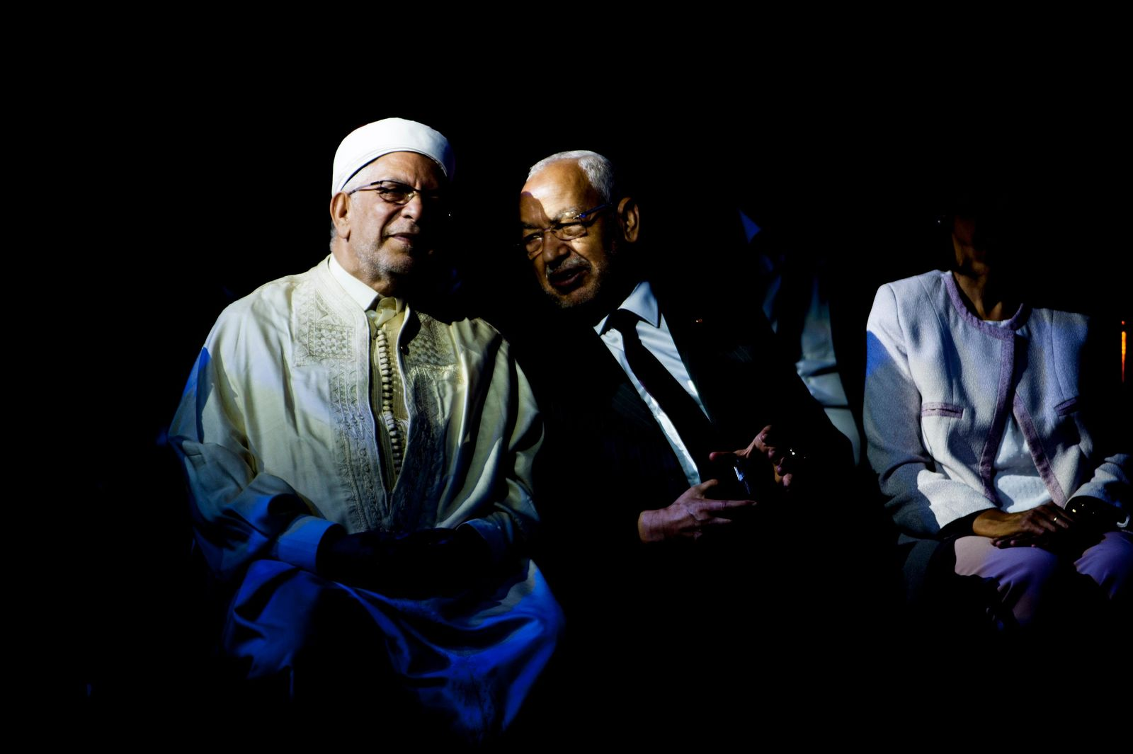 Vice President of the Islamist party Ennahda and candidate for the upcoming presidential elections Abdelfattah Mourou, left, speaks with Leader of the Islamist Ennahda party Rachid Ghannouchi during a meeting with the members of the party in Tunis, Tunisia, Friday, Aug. 30, 2019. (AP Photo/Hassene Dridi)