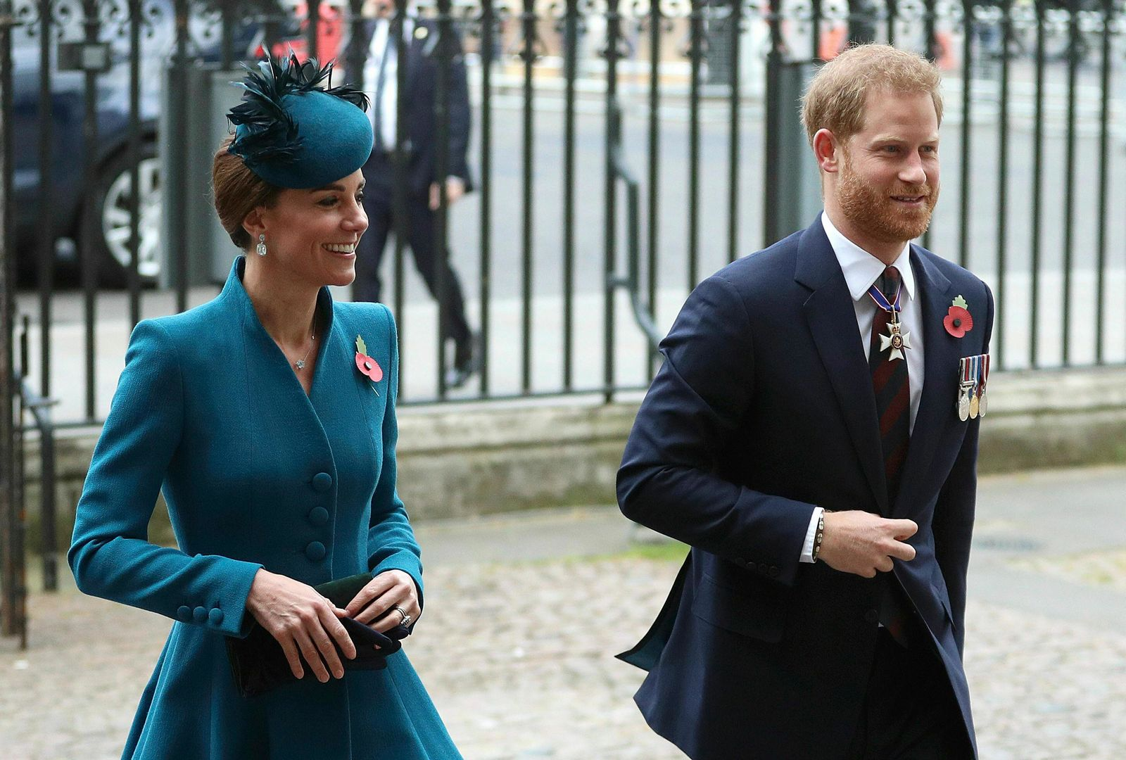 Britain's Prince Harry, right and Kate, the Duchess of Cambridge attend the Anzac Day Service of Commemoration and Thanksgiving at Westminster Abbey, in London, Thursday April 25, 2019.(Andrew Matthews/PA via AP)