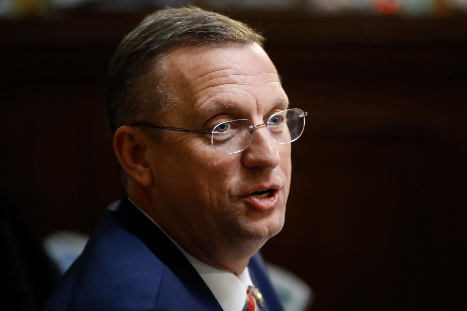 FILE- In this Dec. 17, 2019 file photo, Rep. Doug Collins, R-Ga., speaks during a House Rules Committee hearing on the impeachment against President Donald Trump on Capitol Hill in Washington. Collins is expected to challenge newly appointed Sen. Kelly Loeffler for her Senate seat this year. That will prompt a battle within the GOP that could enhance Democrats' chances of capturing the seat this November. (AP Photo/Matt Rourke, File)