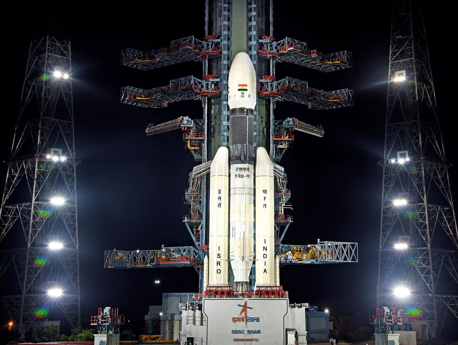 This July 2019, photo released by the Indian Space Research Organization (ISRO) shows its Geosynchronous Satellite Launch Vehicle (GSLV) MkIII-M1 at its launch pad in Sriharikota, an island off India's south-eastern coast. (Indian Space Research Organization via AP)