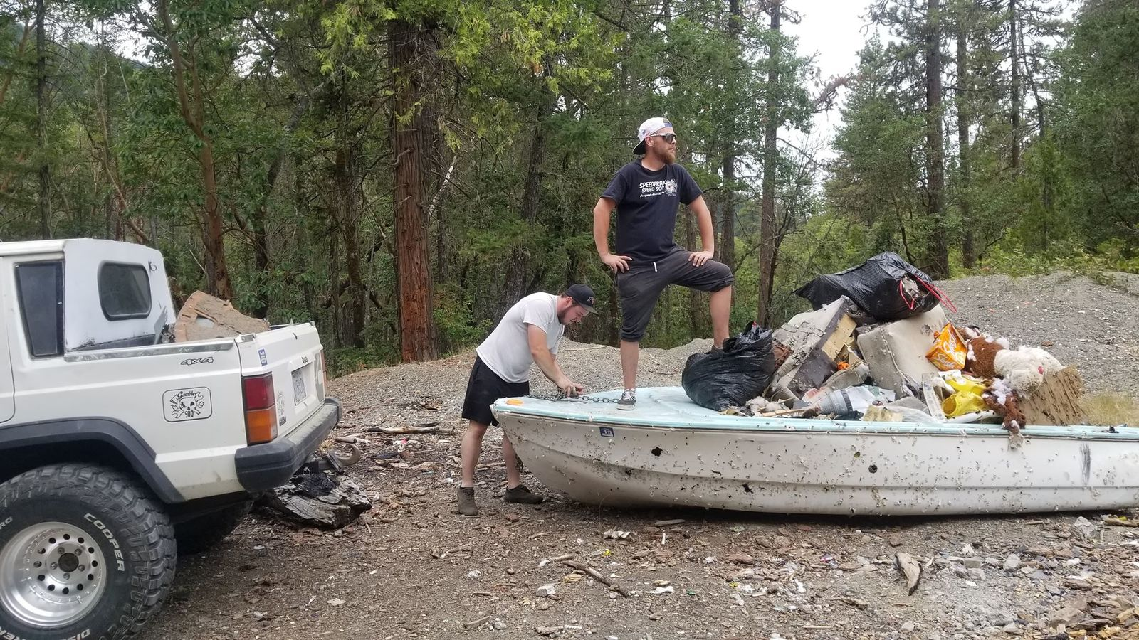 A boat filled with junk that they found in the forest. (Courtesy: Sam Watson){&nbsp;}<p></p><p></p>