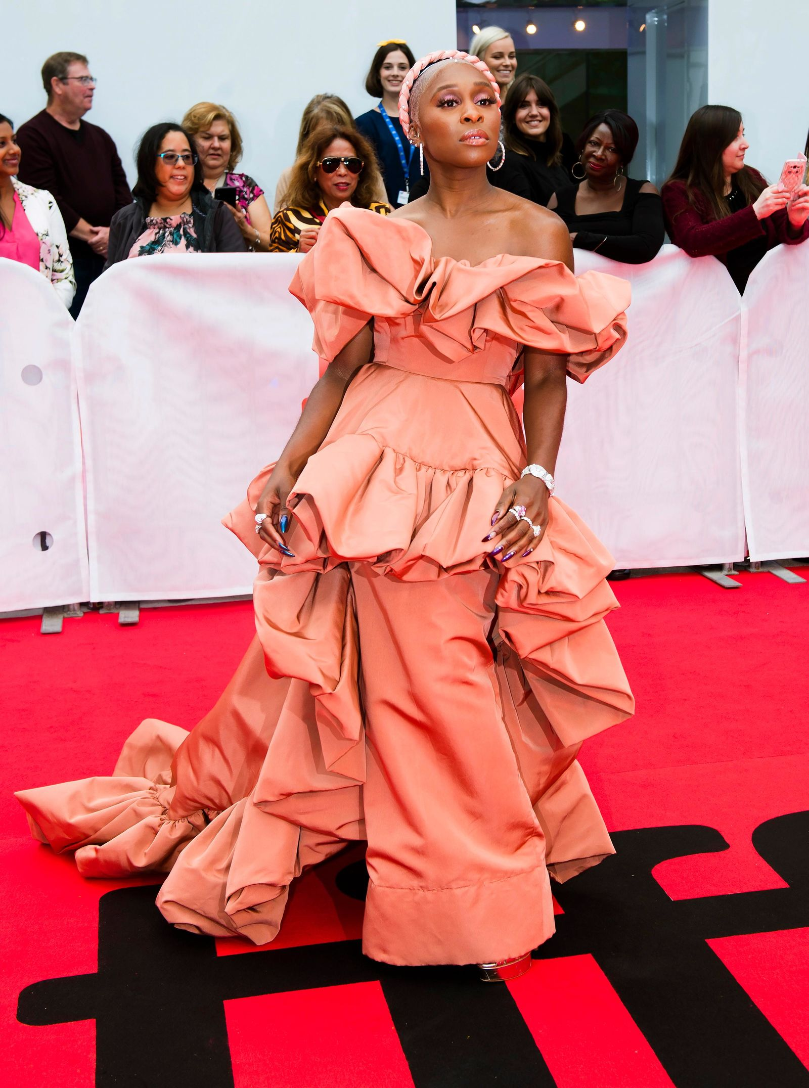 "Actress Cynthia Erivo arrives on the red carpet for the gala premiere of the film ""Harriet "" at the 2019 Toronto International Film Festival in Toronto on Tuesday, Sept.10, 2019. (Nathan Denette/The Canadian Press via AP)"