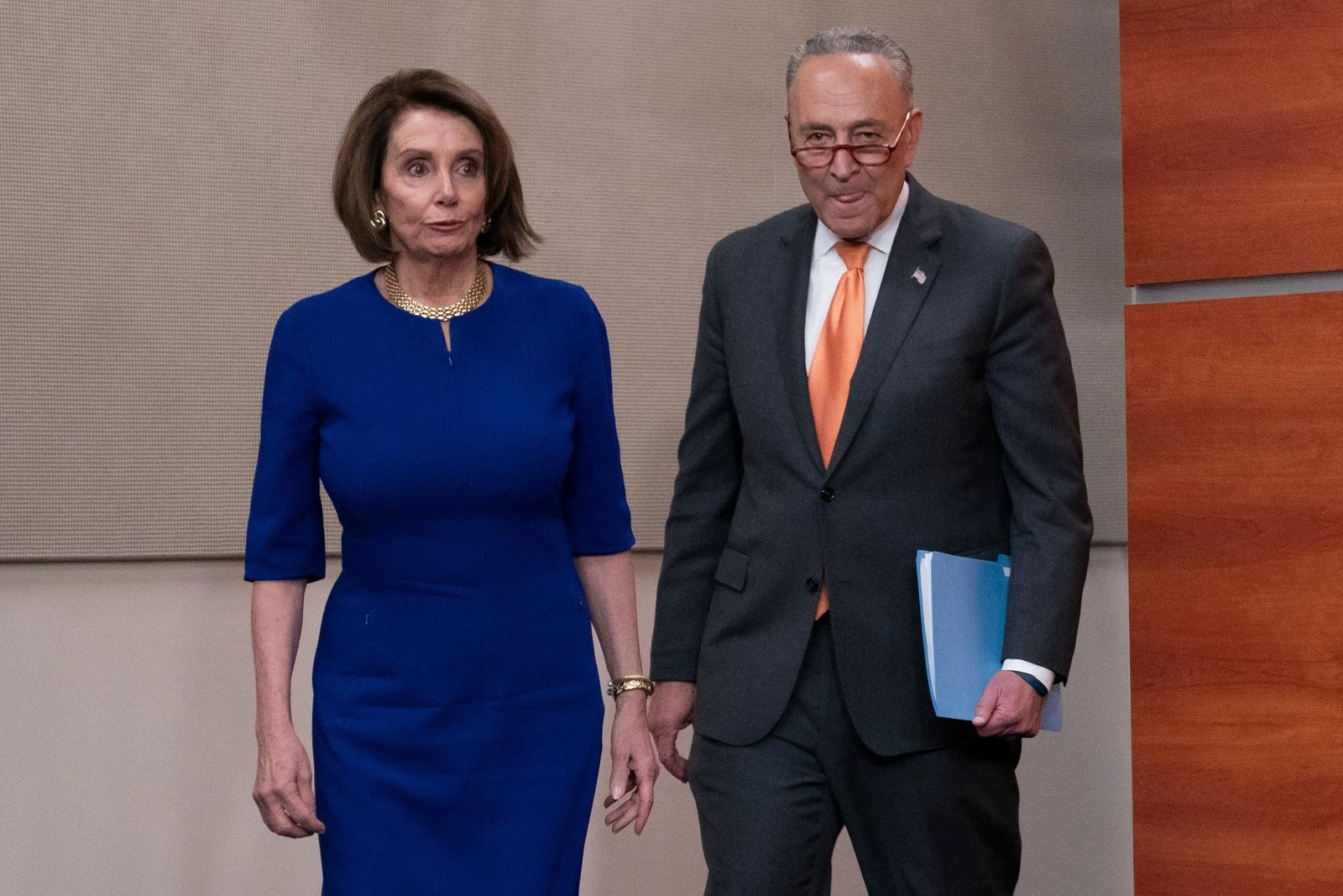 Speaker of the House Nancy Pelosi, D-Calif., left, and Senate Minority Leader Chuck Schumer, D-N.Y., arrive to inform reporters about their failed meeting with President Donald Trump at the White House on infrastructure, at the Capitol in Washington, Wednesday, May 22, 2019.  (AP Photo/J. Scott Applewhite)