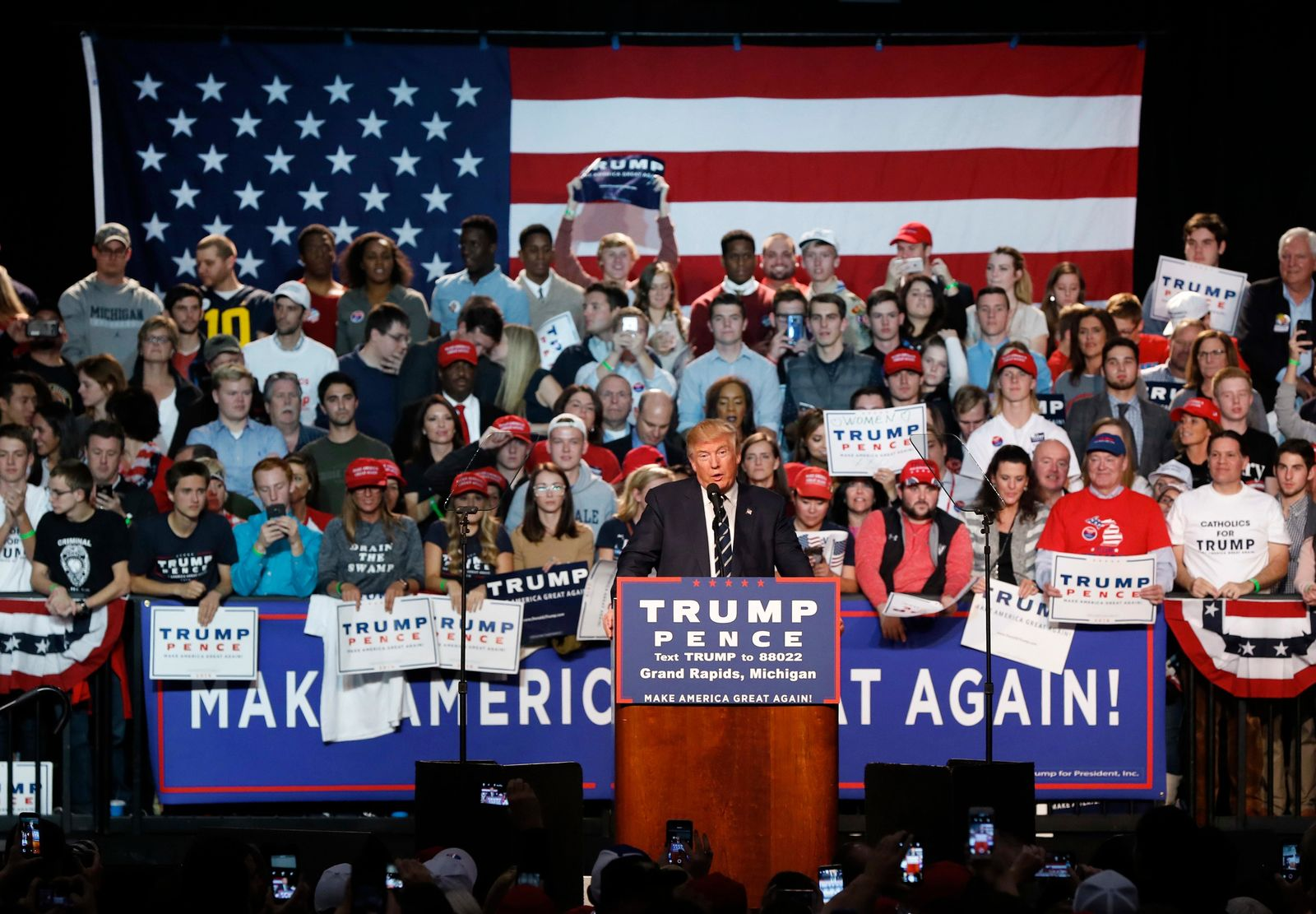 FILE - In this Nov. 8, 2016 file photo, Republican presidential candidate Donald Trump speaks to supporters during a rally, in Grand Rapids, Mich. (AP Photo/Paul Sancya, File)