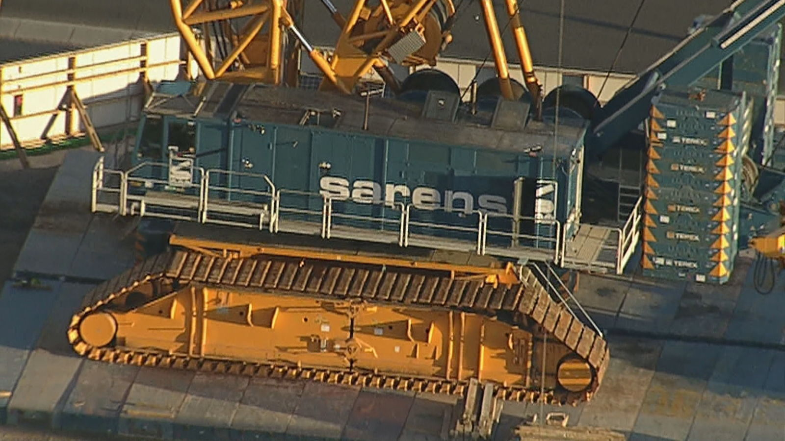 A DEMAG CC-8800 Crawler Crane has arrived at the MSG Sphere construction site in Las Vegas, seen on Wednesday, Feb. 26, 2020. (KSNV)