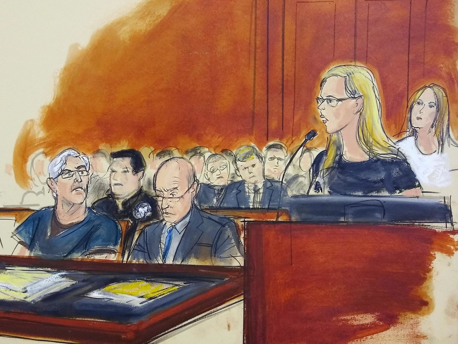 In this courtroom artist's sketch, defendant Jeffrey Epstein, left, listens as accuser Annie Farmer, second from right, speaks during a bail hearing in federal court, Monday, July 15, 2019 in New York.. (Elizabeth Williams via AP)