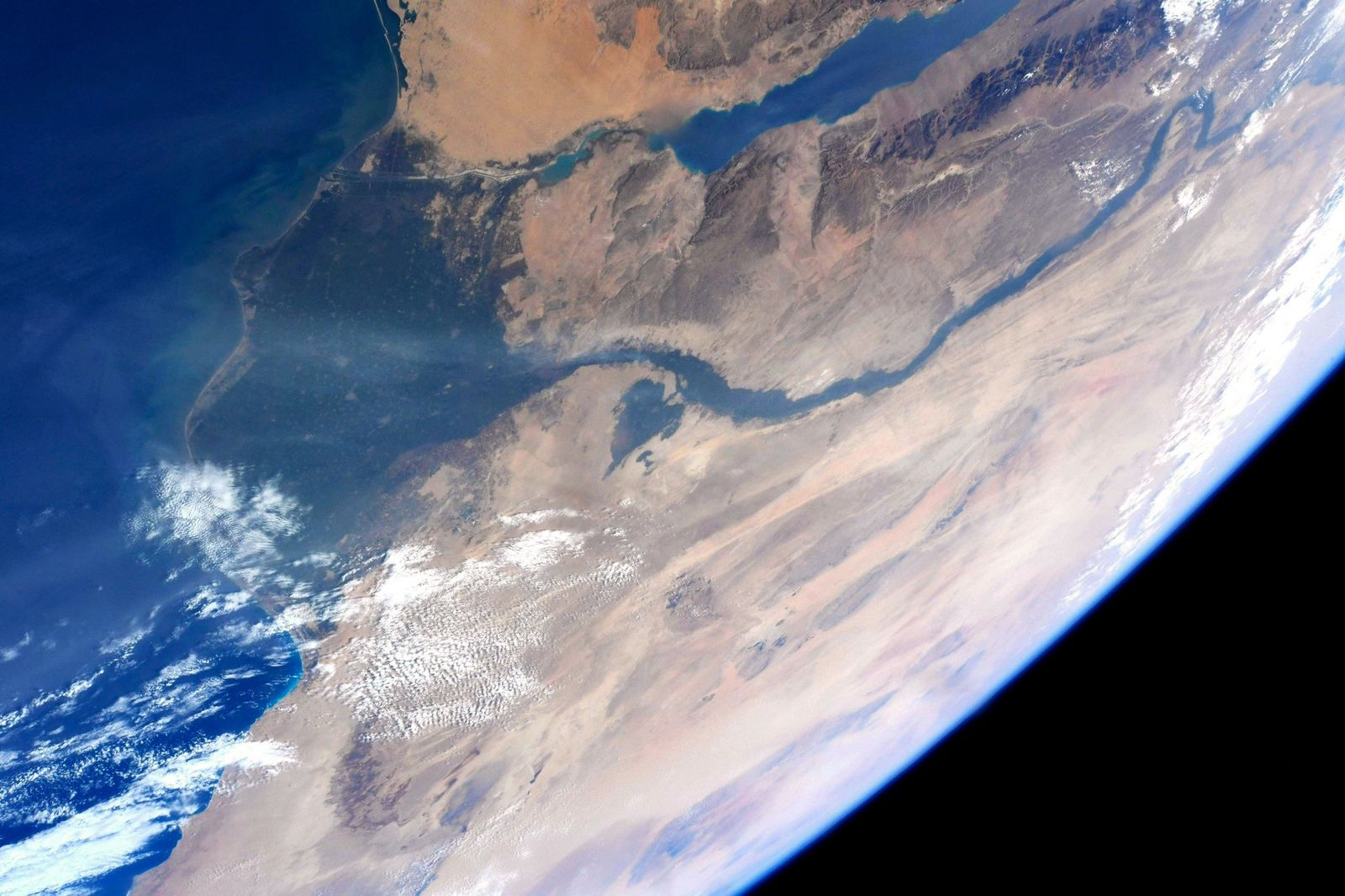 Egypt, the Nile River, the Nile Delta and the Suez Canal.  (Photo & Caption David Saint-Jacques, NASA)