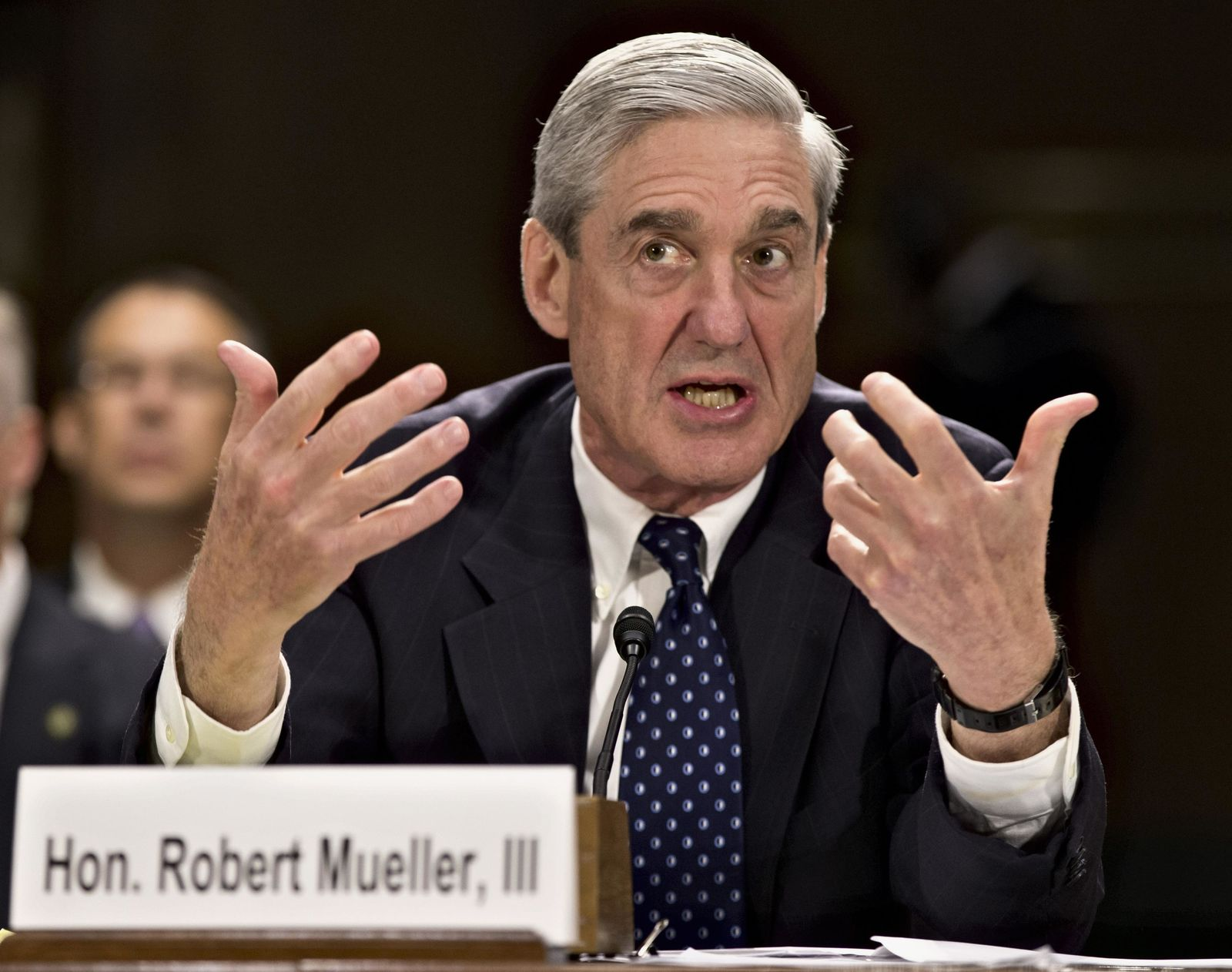 In this June 19, 2013, file photo, former FBI Director Robert Mueller testifies on Capitol Hill in Washington. On May 17, 2017, the Justice Department said is appointing Mueller as special counsel to oversee investigation into Russian interference in the 2016 presidential election. THE ASSOCIATED PRESS