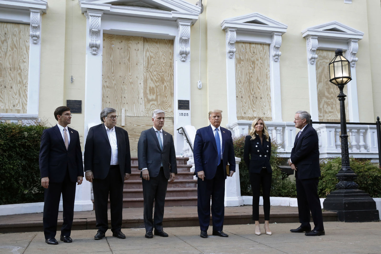 President Donald Trump stands outside St. John's Church across Lafayette Park from the White House Monday, June 1, 2020, in Washington. (AP Photo/Patrick Semansky)