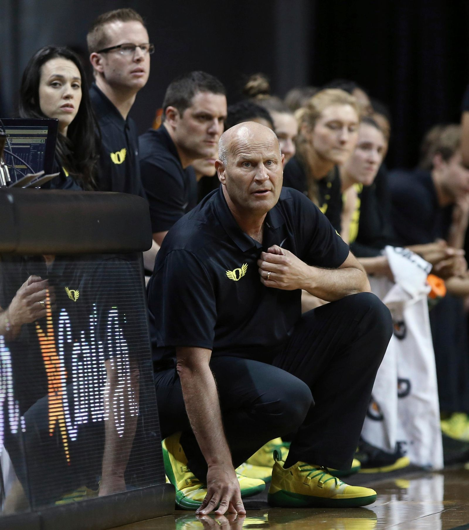 Oregon coach Kelly Graves watches from the bench area during the first half of the team's NCAA college basketball game against UCLA on Friday, Feb. 22, 2019, in Eugene, Ore. (AP Photo/Chris Pietsch)