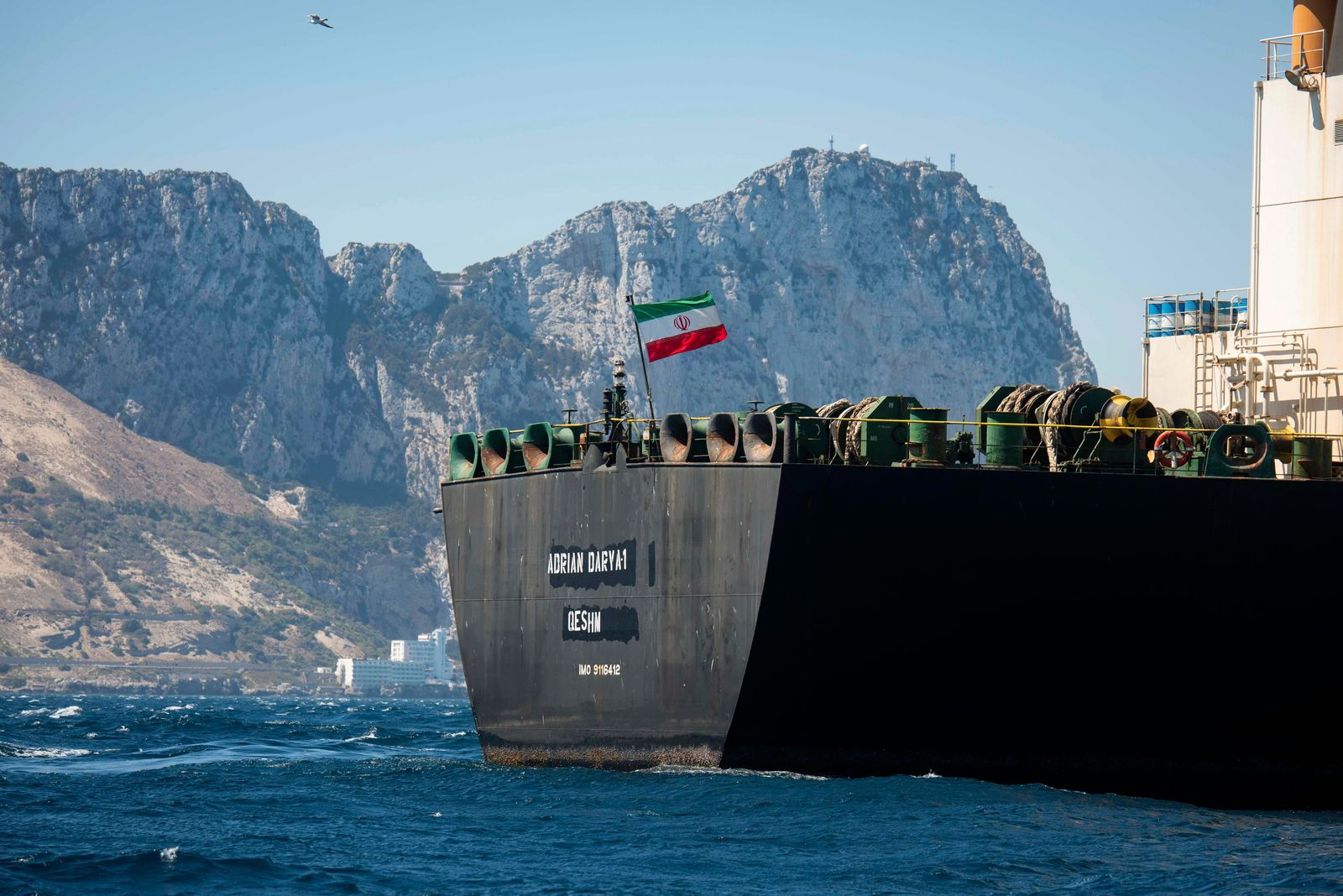 Renamed Adrian Aryra 1 super tanker hosting an Iranian flag sails in the waters in the British territory of Gibraltar, Sunday, Aug. 18, 2019.{ } (AP Photo/Marcos Moreno)