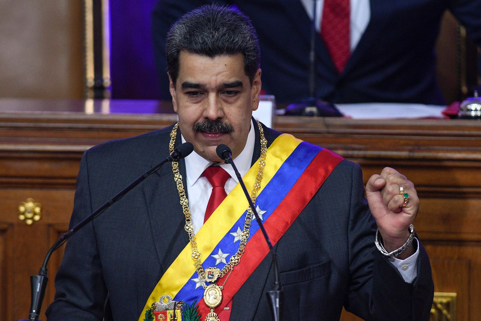 Venezuelan President Nicolas Maduro gives his annual address to the nation before members of the Constituent Assembly on the grounds of the National Assembly in Caracas, Venezuela, Tuesday, Jan. 14, 2020. (AP Photo/Matias Delacroix)