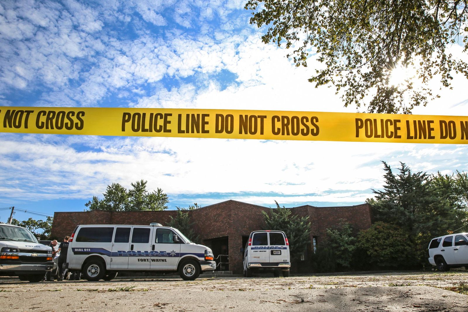 Officers from the Fort Wayne Police Department search the building that once housed an abortion clinic owned by Dr. Ulrich Klopfer on Thursday, Sept. 19, 2019, in Fort Wayne, Ind. After the doctor's death on Sept. 3, more than 2,000 medically preserved fetal remains were found in the garage of his home in rural Crete, Ill. (Eric Ginnard/The Herald-News via AP)
