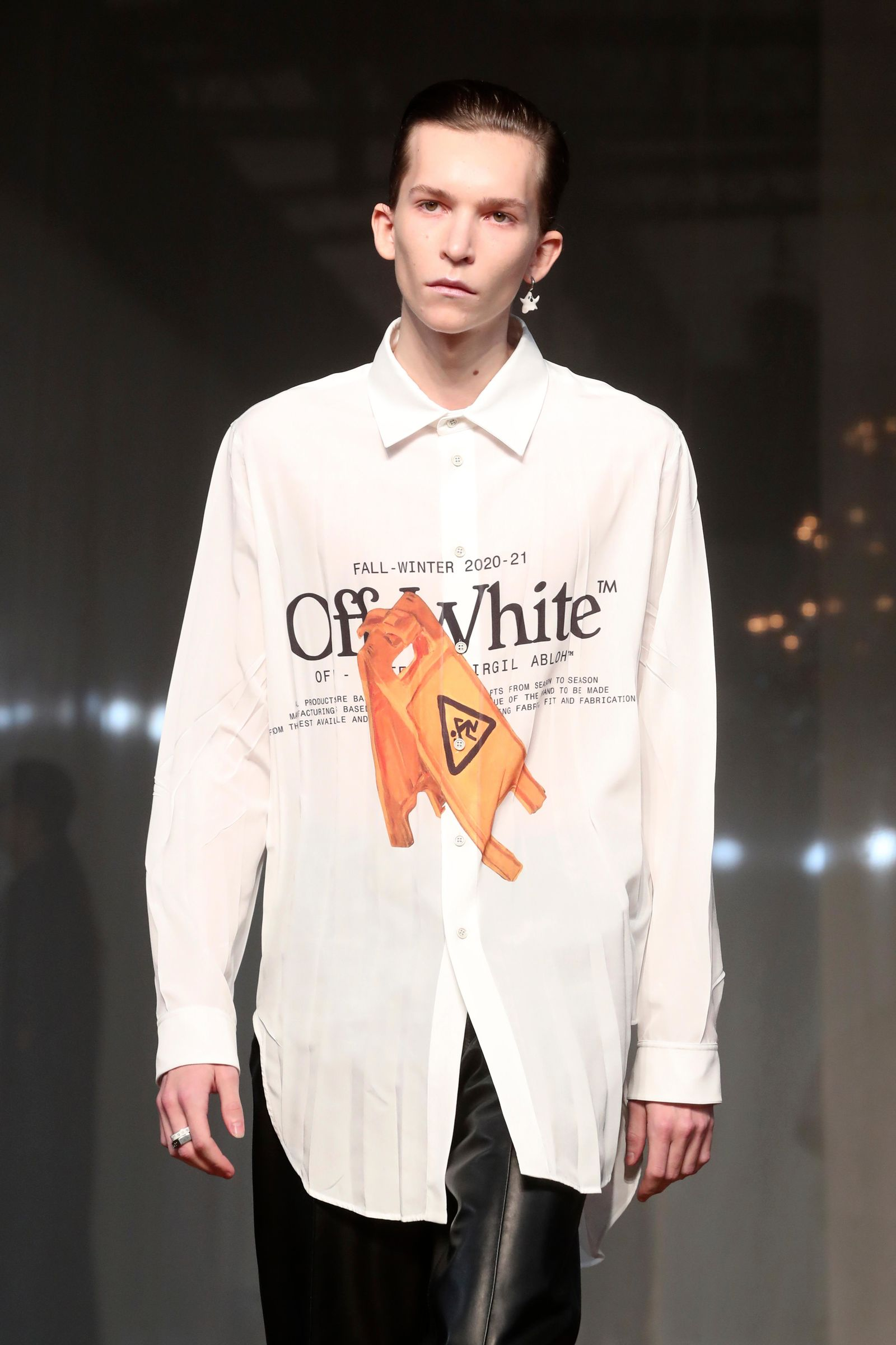 A model presents a creation for Off White Men's Fall/Winter 2019-2020 fashion collection presented in Paris, Wednesday Jan. 15, 2020. (AP Photo/Thibault Camus)