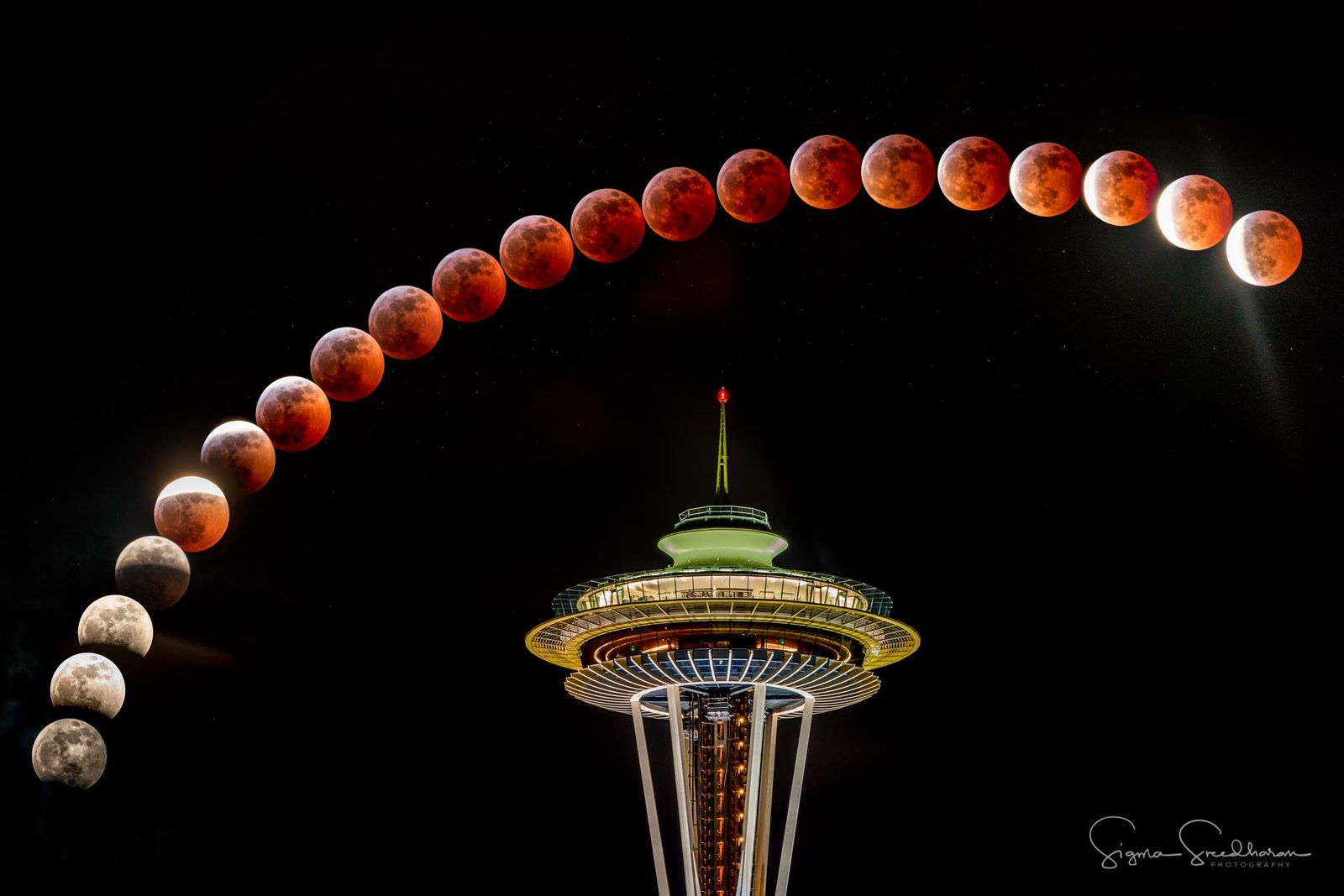 Caption from photographer Sigma Sreedharan Photography:{ }Here's an artistic rendition of last night's Super Blood Wolf Moon Lunar Eclipse. First eclipse pic was from 7:36pm and the last one from 9:59pm.I used Space Needle as the base to add some foreground interest, but as you know the eclipse happened much higher in the sky. Moon's actual trajectory was also hard to map out in a horizontal frame, so I chose an arc instead.