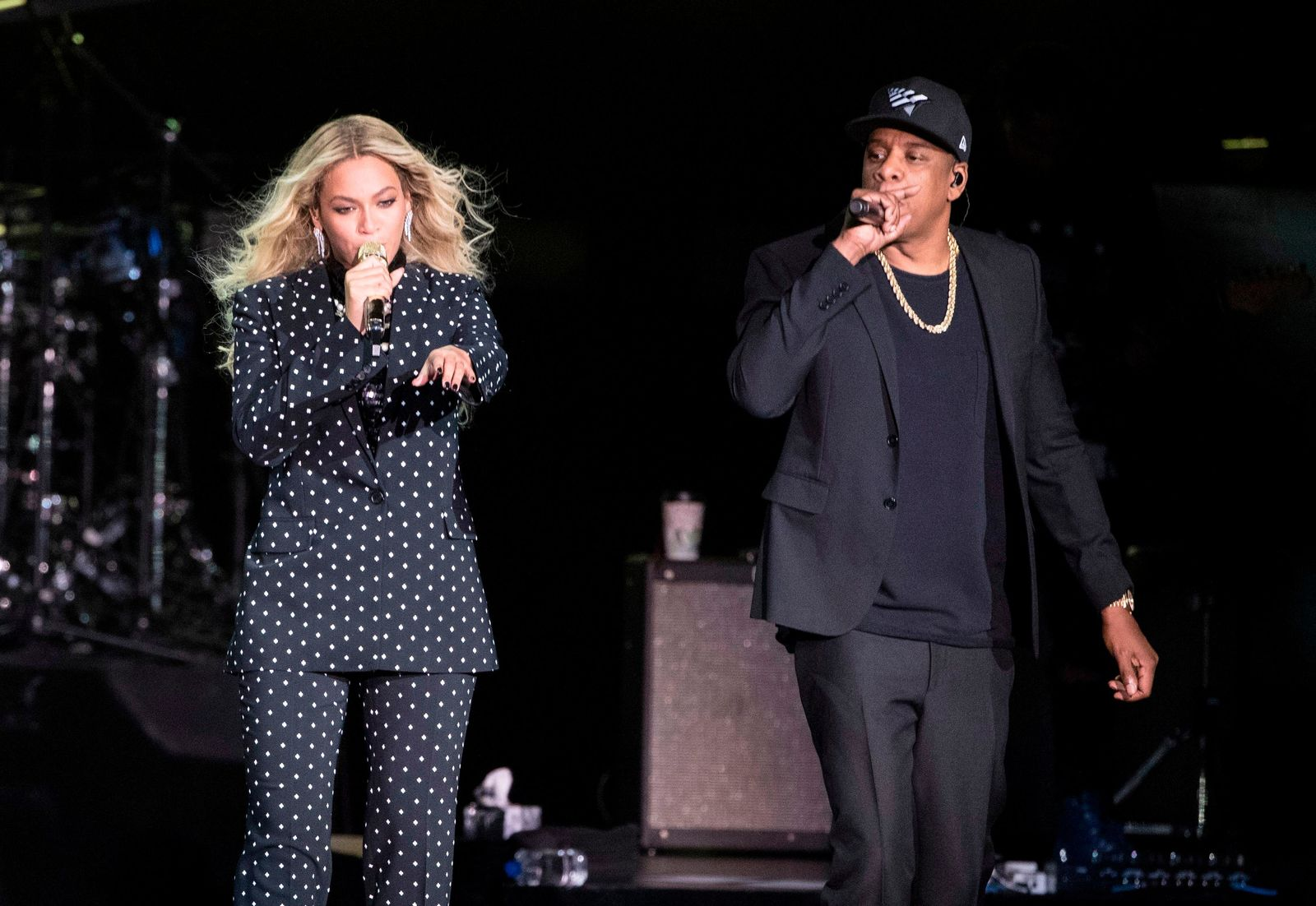 FILE - In this Nov. 4, 2016 file photo, Beyonce and Jay-Z perform during a Democratic presidential candidate Hillary Clinton campaign rally in Cleveland. (AP Photo/Matt Rourke, File)