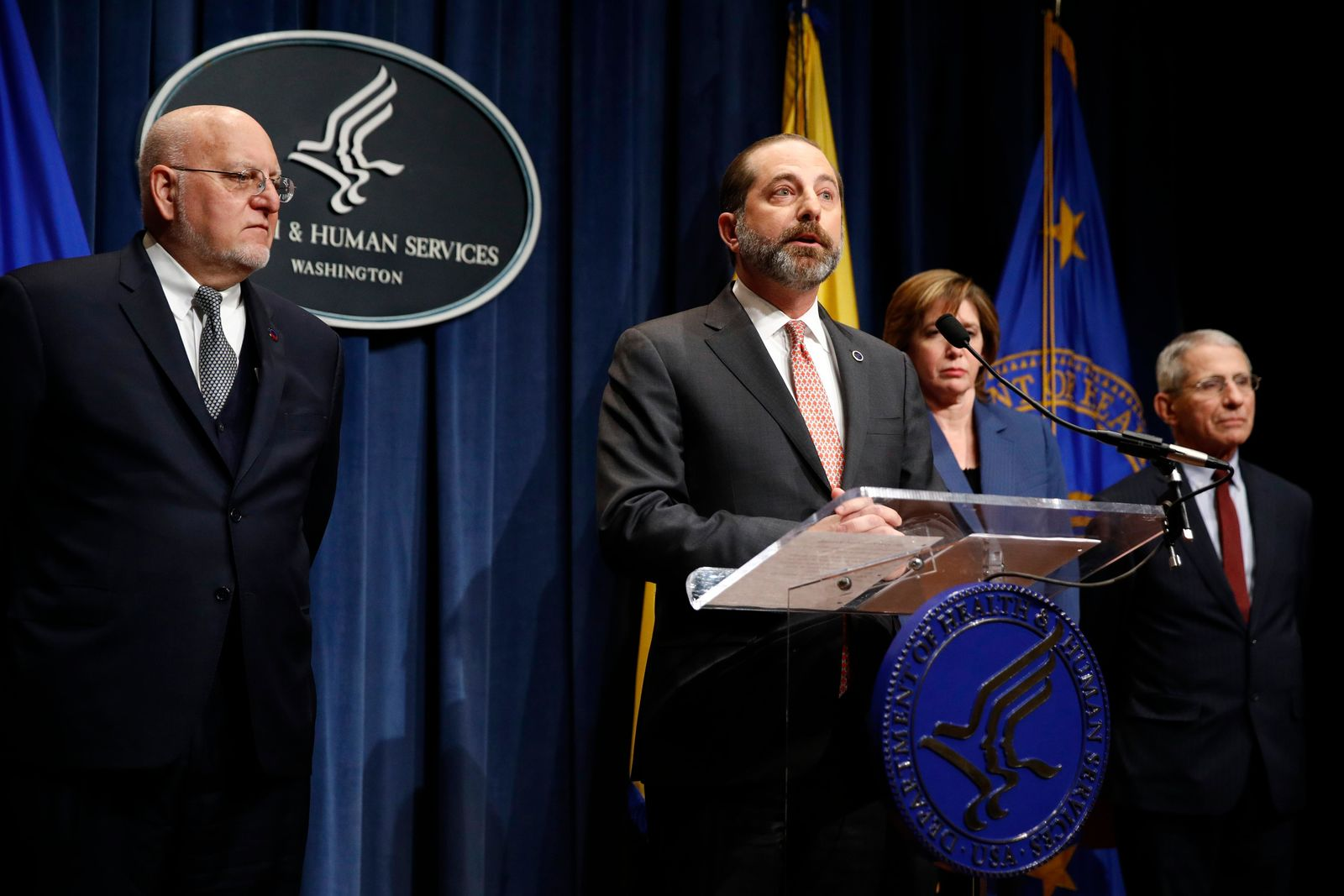 Health and Human Services Secretary Alex Azar speaks at a news conference about the federal government's response to a virus outbreak originating in China, Tuesday, Jan. 28, 2020, in Washington. Standing alongside Azar are Centers for Disease Control and Prevention Director Robert Redfield, from left, National Center for Immunization and Respiratory Disease Director Nancy Messonnier and National Institute of Allergy and Infectious Diseases Director Anthony Fauci. (AP Photo/Patrick Semansky)