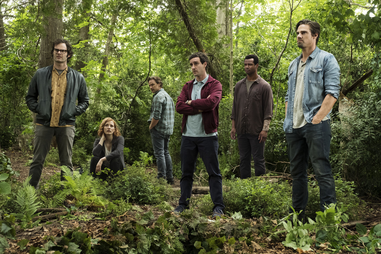 "(L-r) BILL HADER as Richie Tozier, JESSICA CHASTAIN as Beverly Marsh, JAMES MCAVOY as Bill Denbrough, JAMES RANSONE as Eddie Kaspbrak, ISAIAH MUSTAFA as Mike Hanlon, and JAY RYAN as Ben Hascomb in New Line Cinema's horror thriller ""IT CHAPTER TWO,"" a Warner Bros. Pictures release. (Photo: Warner Bros.){ }"