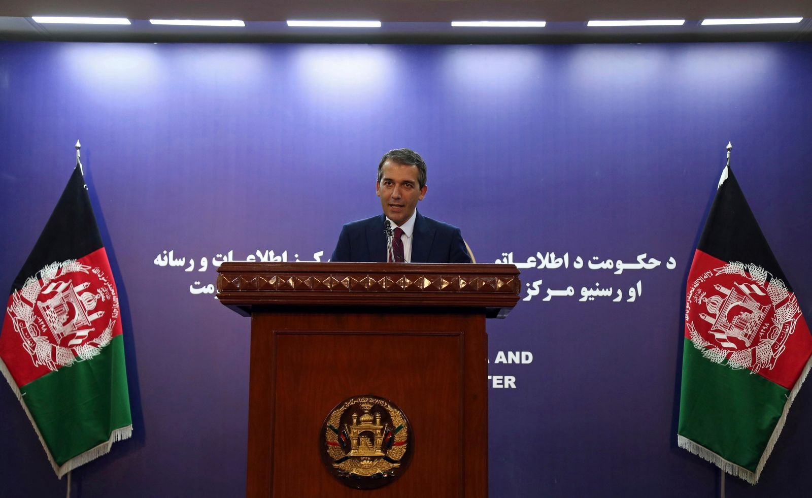 "Presidential spokesman Sediq Seddiqi speaks during a press conference in Kabul, Afghanistan, Monday, Sept. 2, 2019. A U.S. envoy showed the draft of a U.S.-Taliban agreement to Afghan leaders on Monday after declaring they were ""at the threshold"" of a deal to end America's longest war, officials said. Seddiqi told reporters the Afghan government likely would take a ""couple of days"" to study the deal. (AP Photo/Rahmat Gul)"
