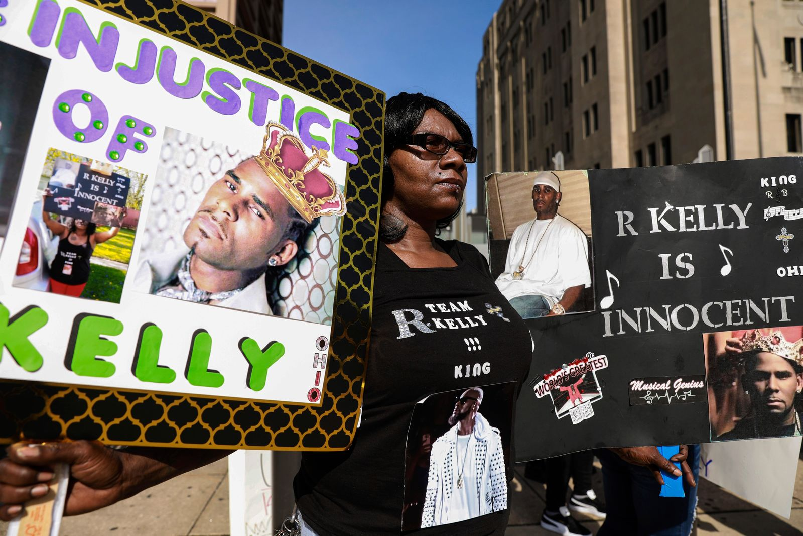 A supporter of R. Kelly protests in front of the Leighton Criminal Court building ahead of his arrival for an arraignment on sex-related felonies Wednesday, June 26, 2019 in Chicago. (AP Photo/Amr Alfiky)