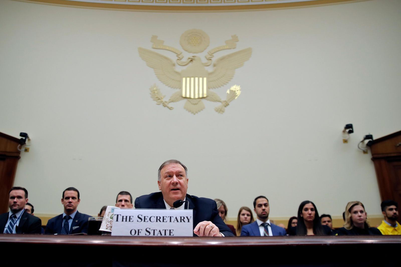 Secretary of State Mike Pompeo testifies during a House Foreign Affairs Committee hearing on Capitol Hill in Washington, Friday, Feb. 28, 2020, about the Trump administration's policies on Iran, Iraq and the use of force. (AP Photo/Carolyn Kaster)
