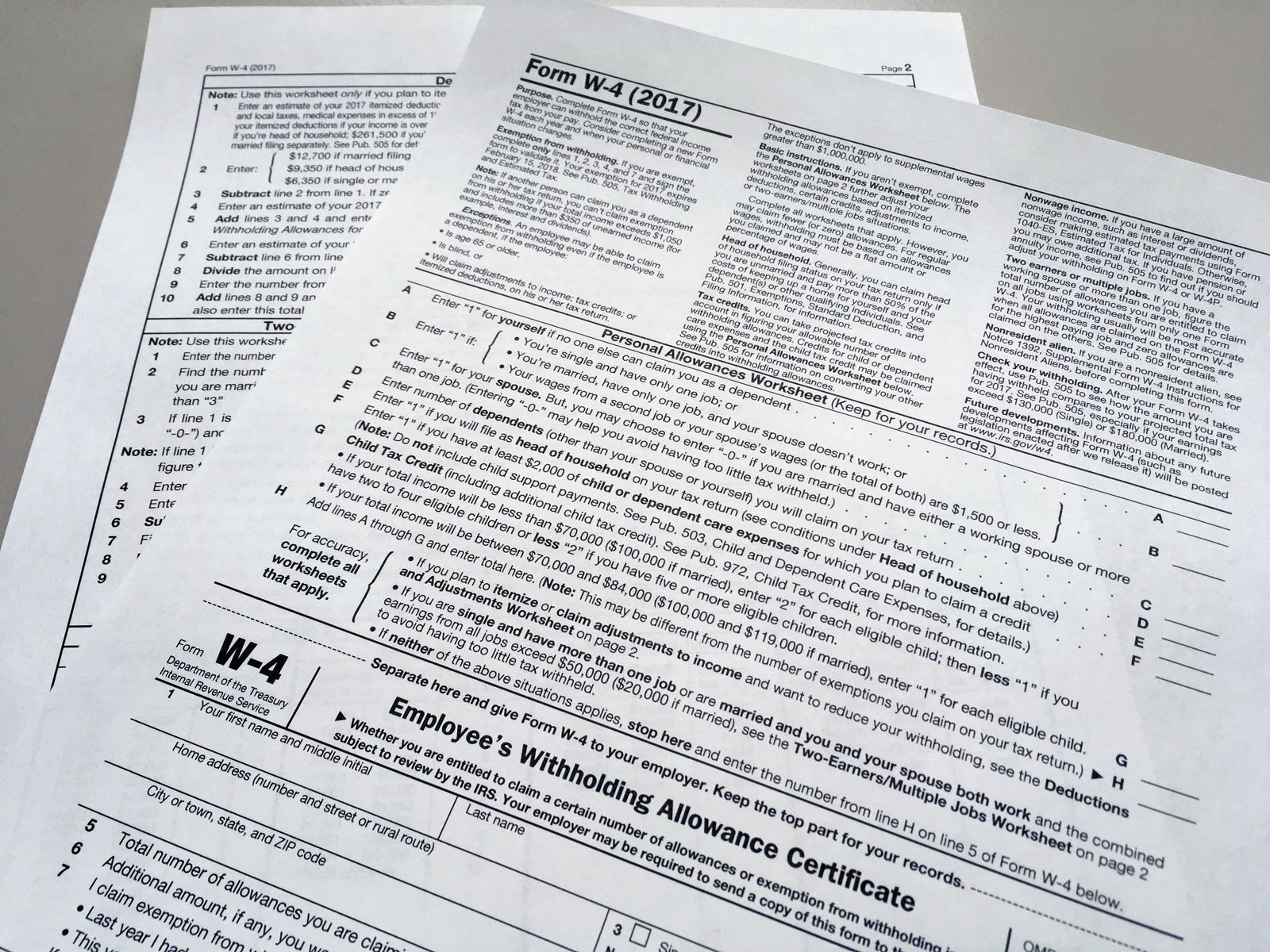 FILE - This Feb. 1, 2018 file photo shows an IRS W-4 form in New York. On Friday, May 31, 2019, the IRS is expected to release a proposed update to the form. (AP Photo/Barbara Woike, File)