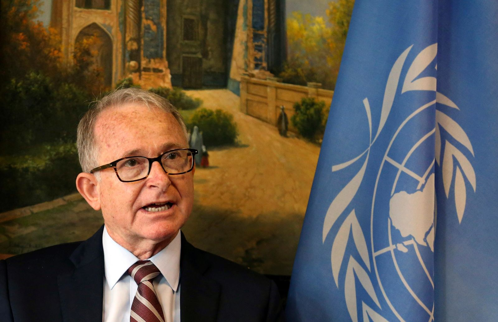 United Nations Assistance Mission in Afghanistan (UNAMA) Human Rights Director Richard Bennett speaks during an interview with the Associated Press in Kabul, Afghanistan, Wednesday, April. 24, 2019. . (AP Photo/Rahmat Gul)