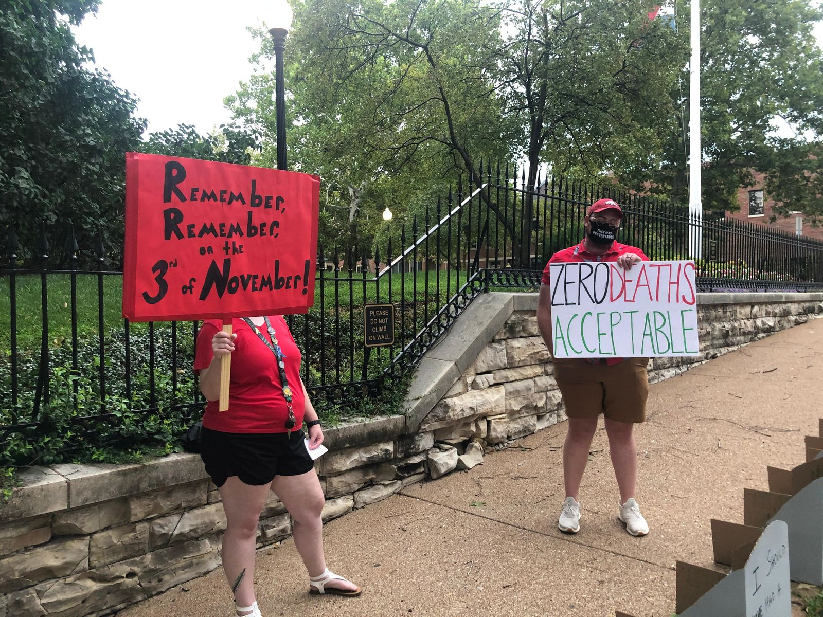 Missouri teachers protest in-person learning outside the Governor's Mansion. (Kamen Entchev/KRCG 13)