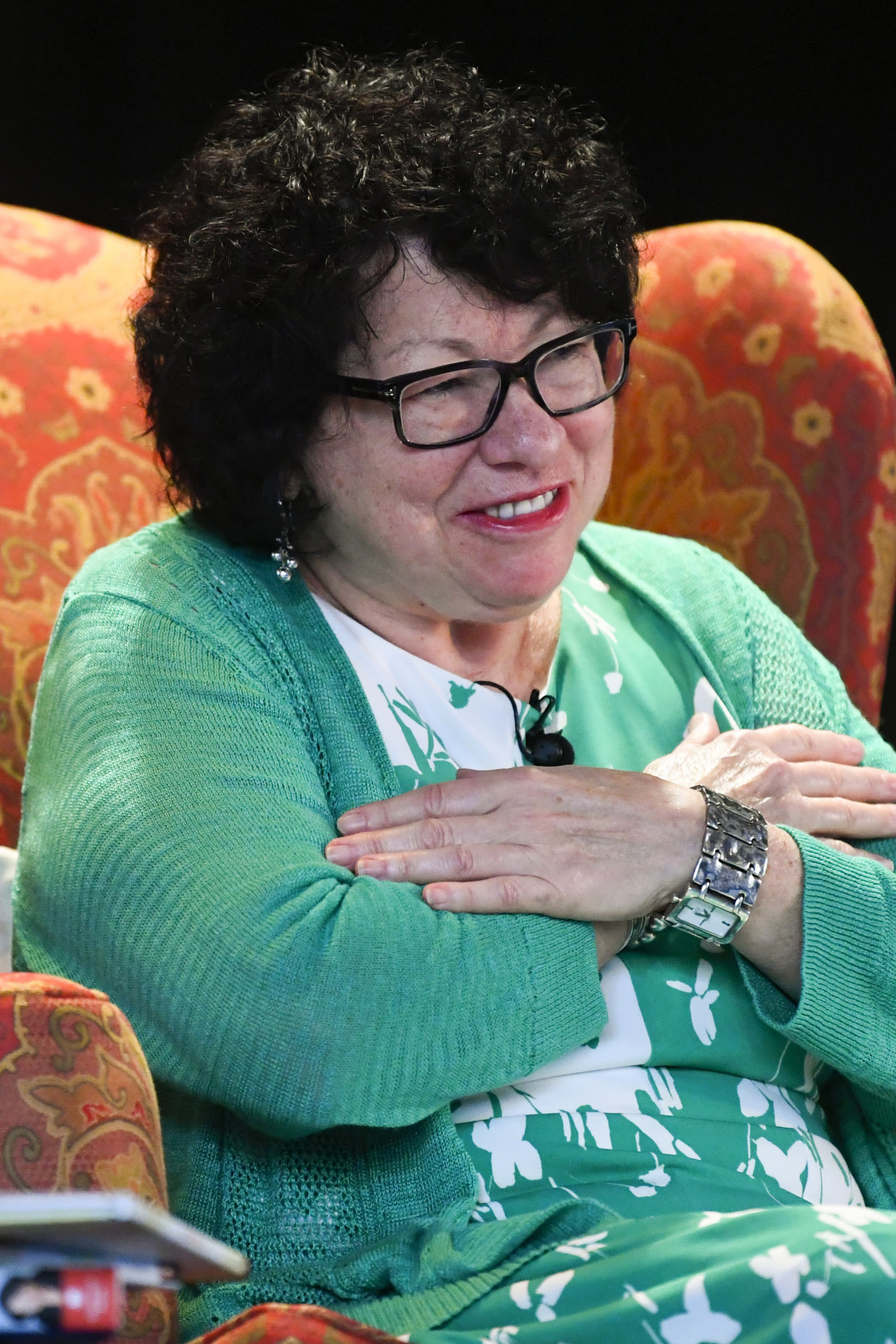 "U.S. Supreme Court Justice Sonia Sotomayor reacts after being introduced during an event promoting her new children's book ""Just Ask!"" in Decatur, Ga., Sunday, Sept. 1, 2019. (AP Photo/John Amis)"