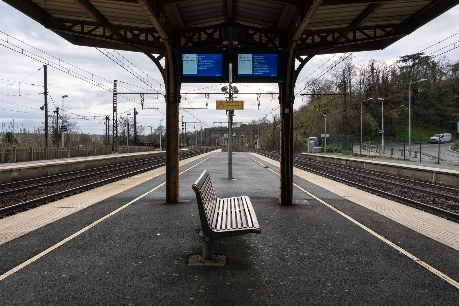 An empty platform is pictured during a railway strike at the Saint Germain au Mont d'Or train station, around Lyon, central France, Monday, Dec. 9, 2019. (AP Photo/Laurent Cipriani)