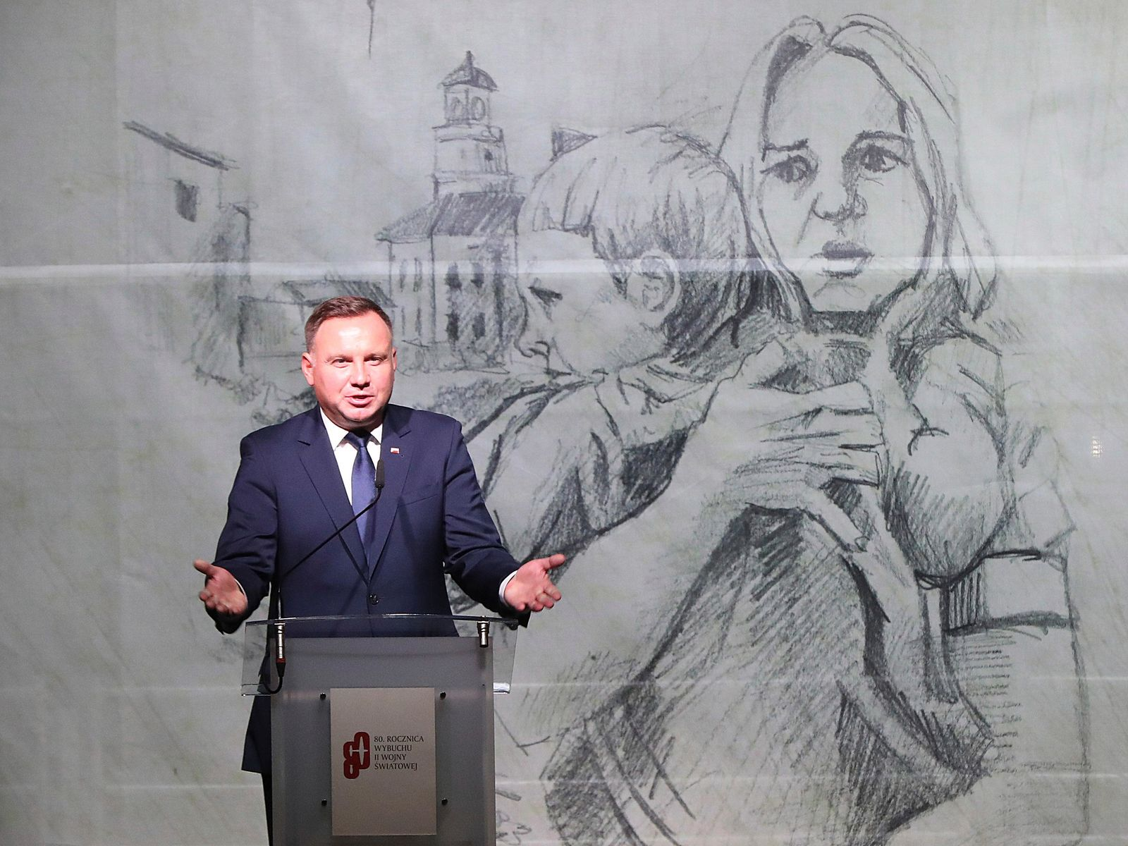 Polish President Andrzej Duda speaks at the commemoration ceremony of the 80th anniversary of the start of World War II, in Wielun, Poland, Sunday, Sept. 1, 2019. (AP Photo/Czarek Sokolowski)