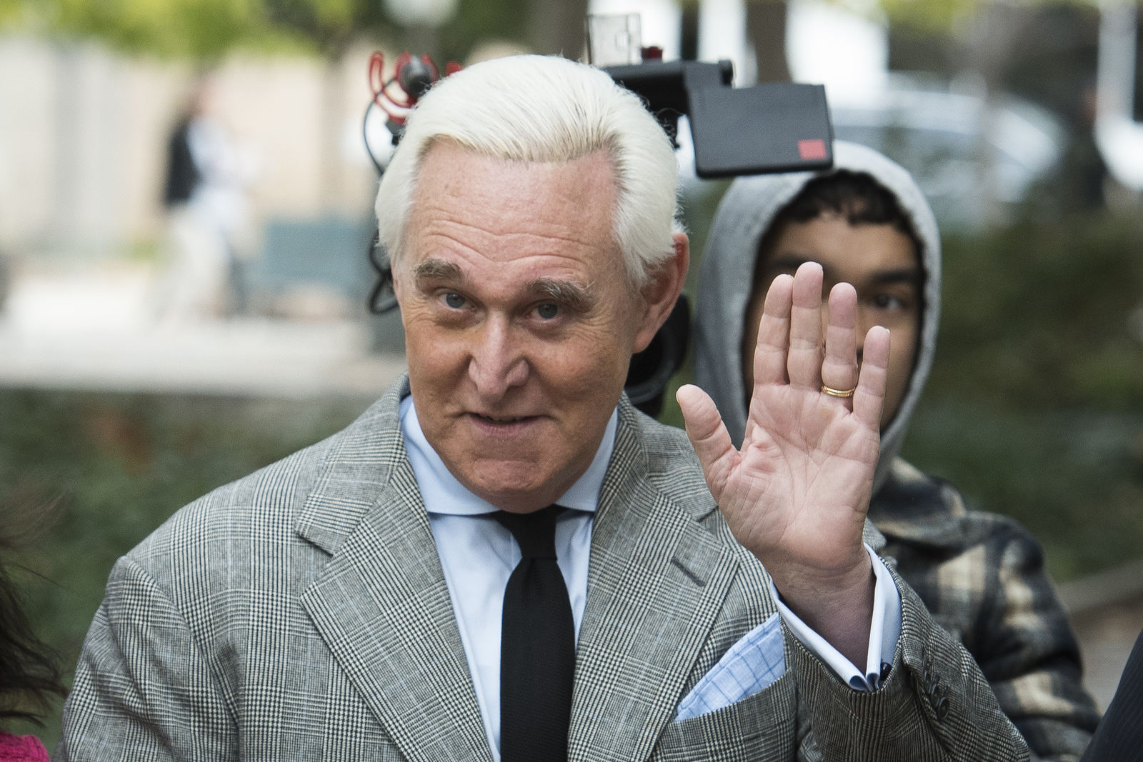 FILE - In this Nov. 7, 2019 file photo, Roger Stone arrives at Federal Court for his federal trial in Washington. (AP Photo/Cliff Owen)