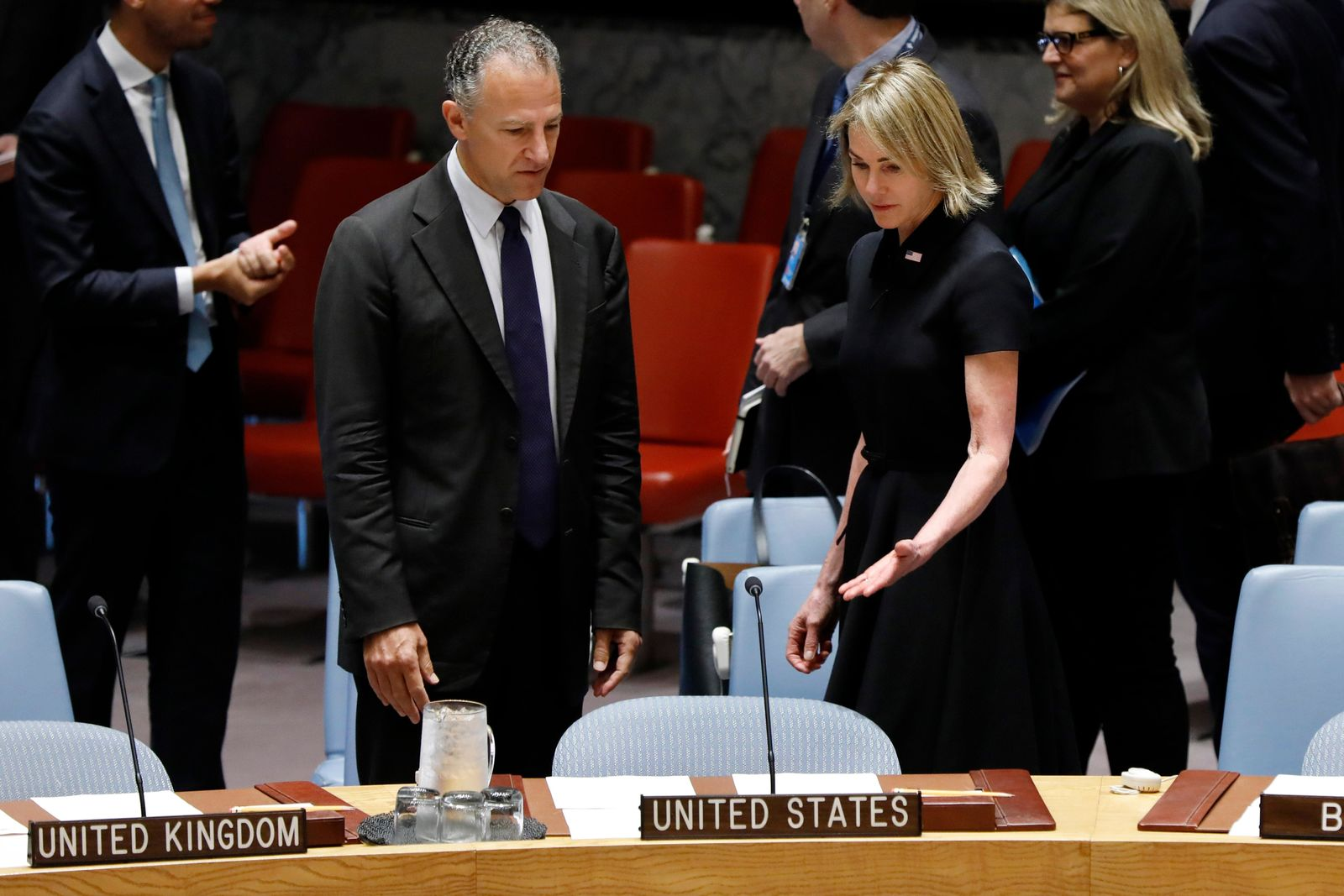 New U.S. Ambassador Kelly Craft talks with United States Deputy Representative to the United Nations Jonathan Cohen as she attends her first Security Council meeting, at United Nations headquarters, Thursday, Sept. 12, 2019. (AP Photo/Richard Drew)