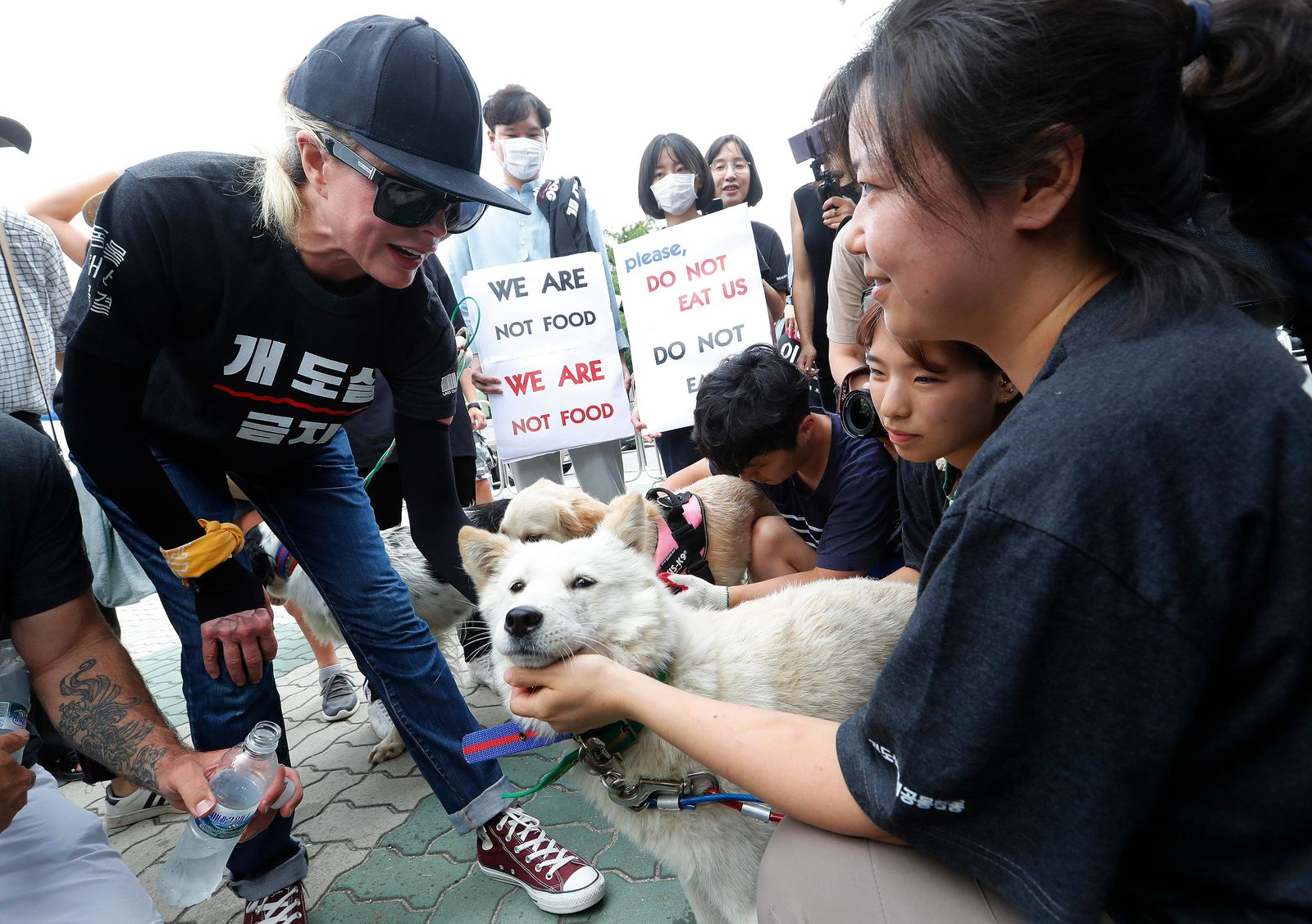 American actress Kim Basinger, left, watches a pet dog during a rally to oppose eating dog meat in front of the National Assembly in Seoul, South Korea, Friday, July 12, 2019. July 12 is the day South Koreans eat healthy foods such as dog meat in the belief it would help them survive heat during summer. (AP Photo/Ahn Young-joon)