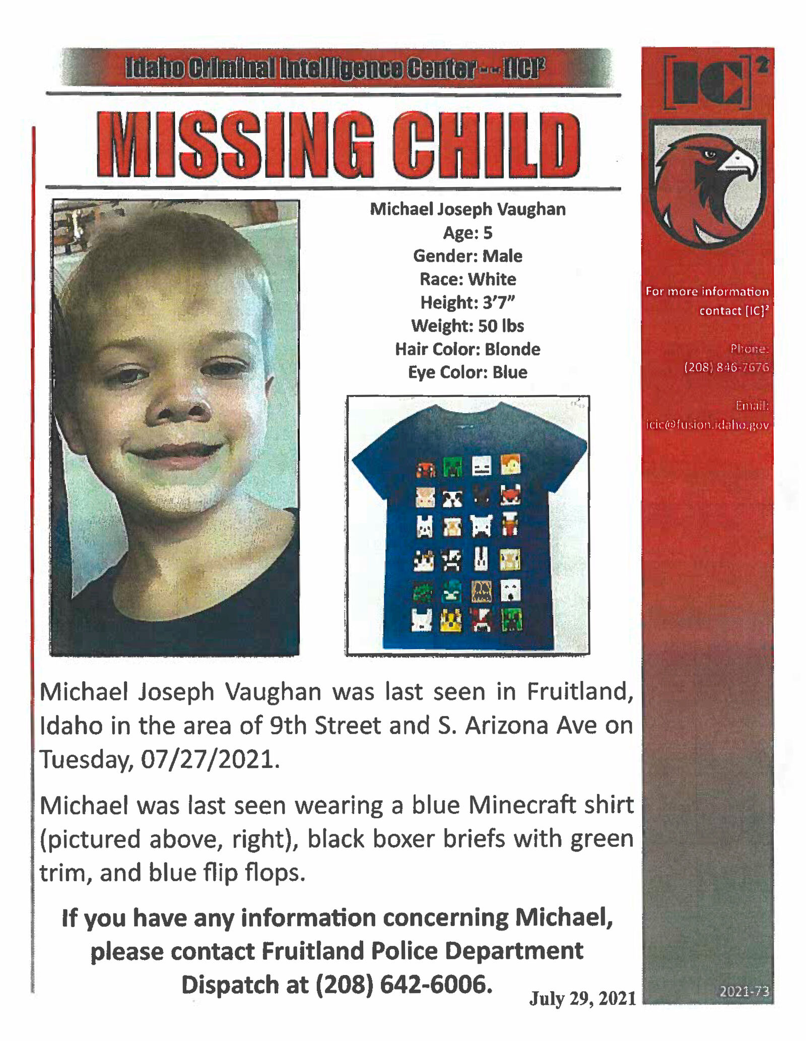 New photos released as search for missing 5-year old Michael Vaughn hits one month mark (Photo Courtesy: Fruitland PD) photo 4